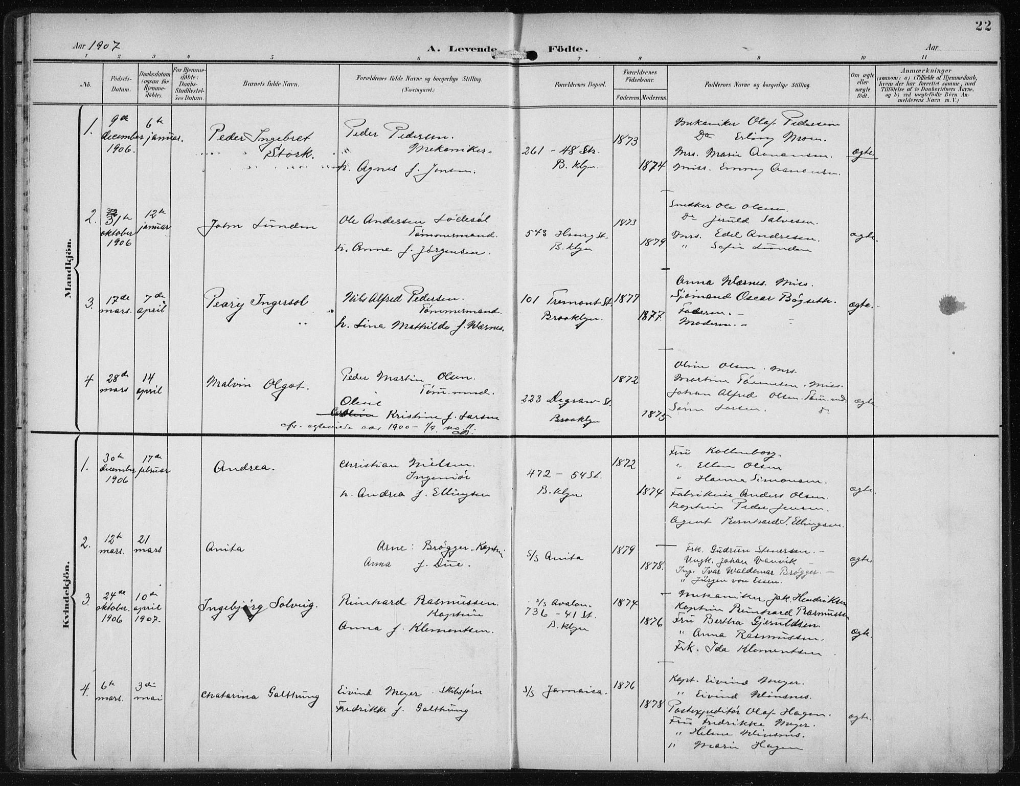 SAB, Den Norske Sjømannsmisjon i utlandet*, Ministerialbok nr. A 5, 1902-1908, s. 22