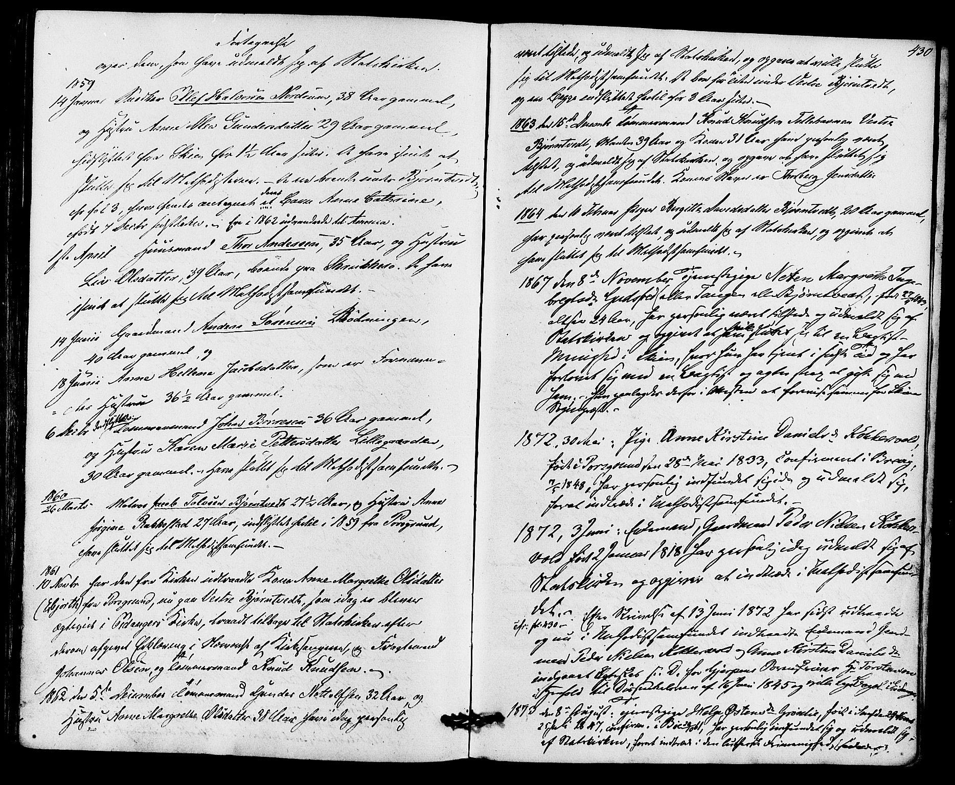 SAKO, Eidanger kirkebøker, F/Fa/L0010: Ministerialbok nr. 10, 1859-1874, s. 430