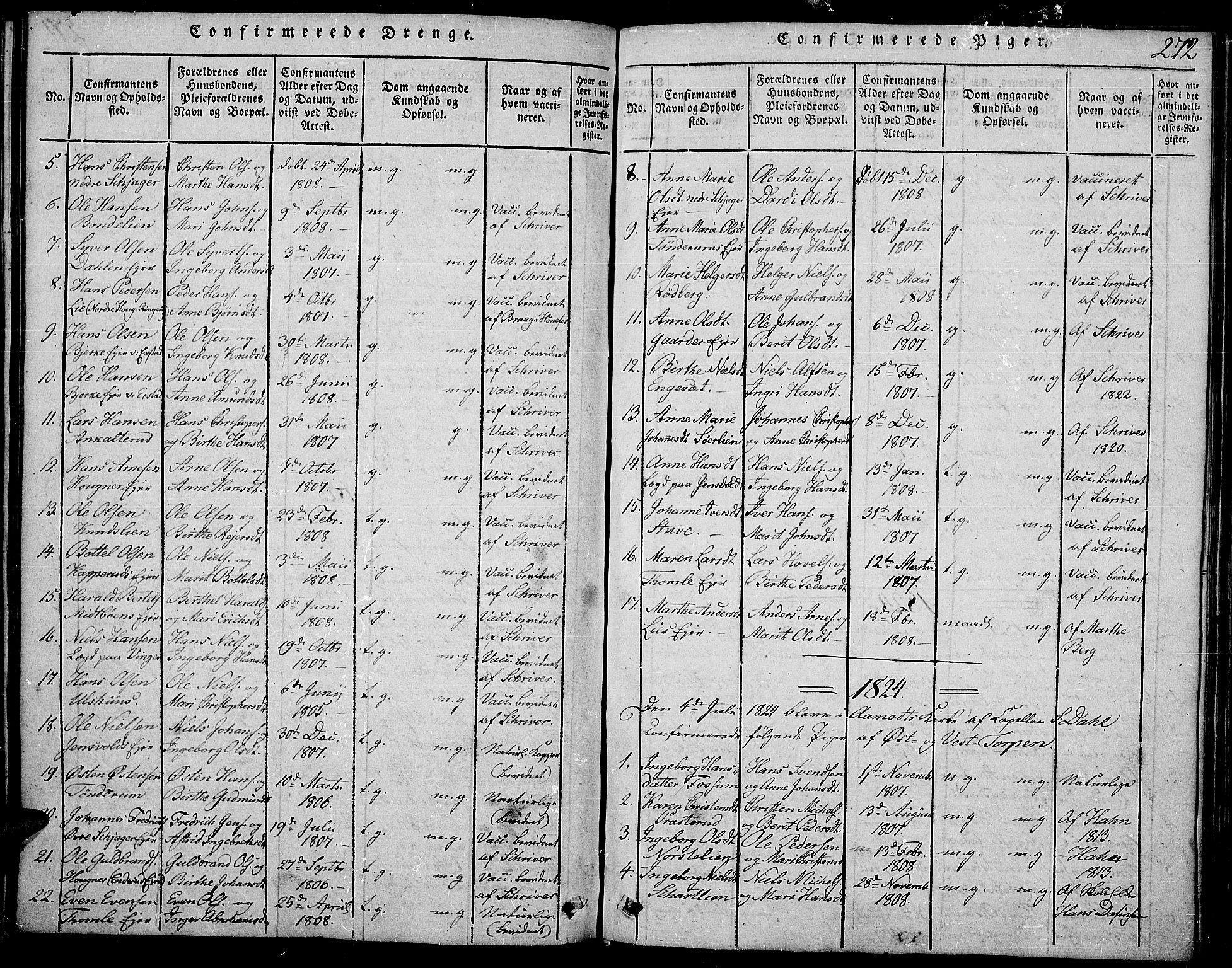 SAH, Land prestekontor, Ministerialbok nr. 7, 1814-1830, s. 272