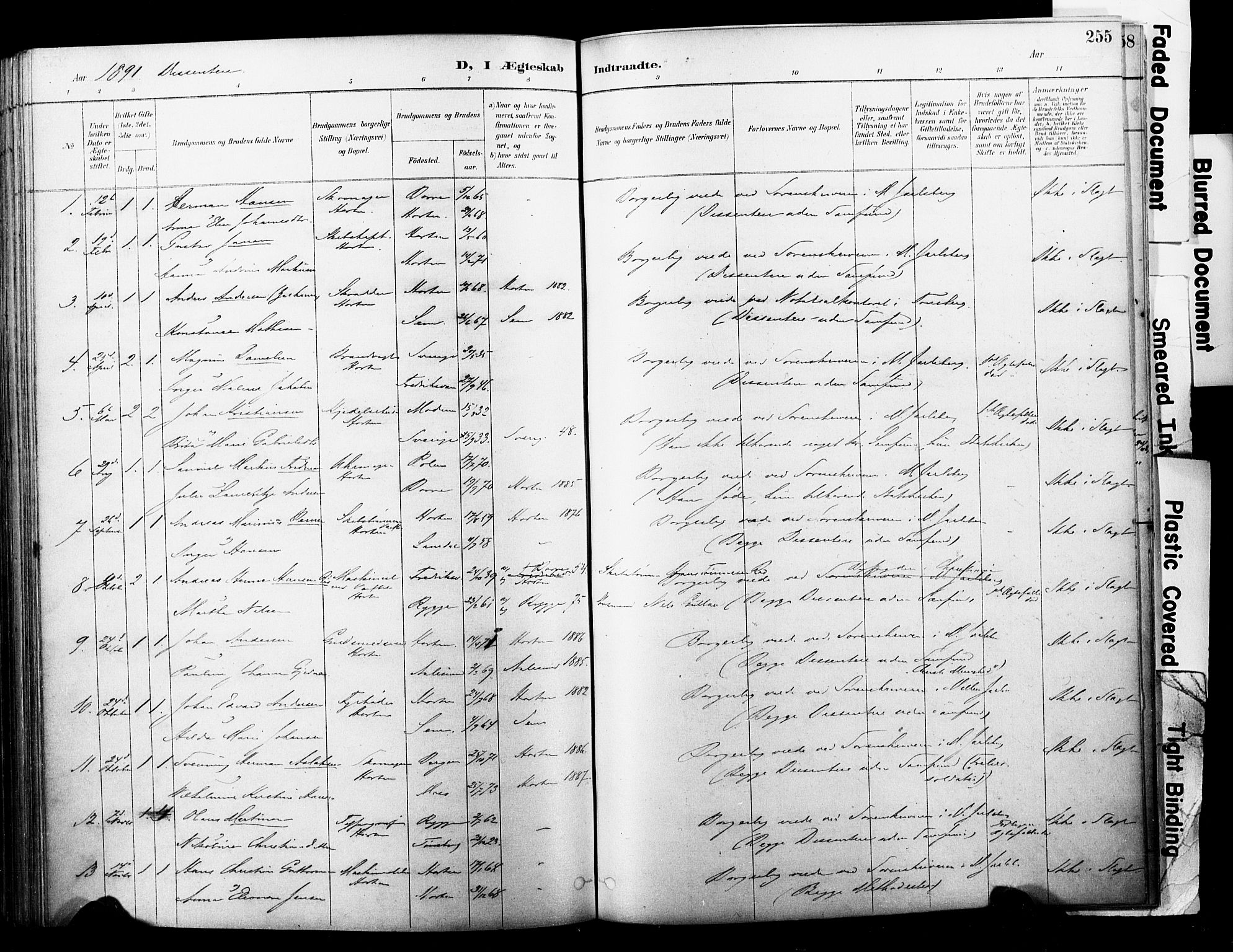 SAKO, Horten kirkebøker, F/Fa/L0004: Ministerialbok nr. 4, 1888-1895, s. 255