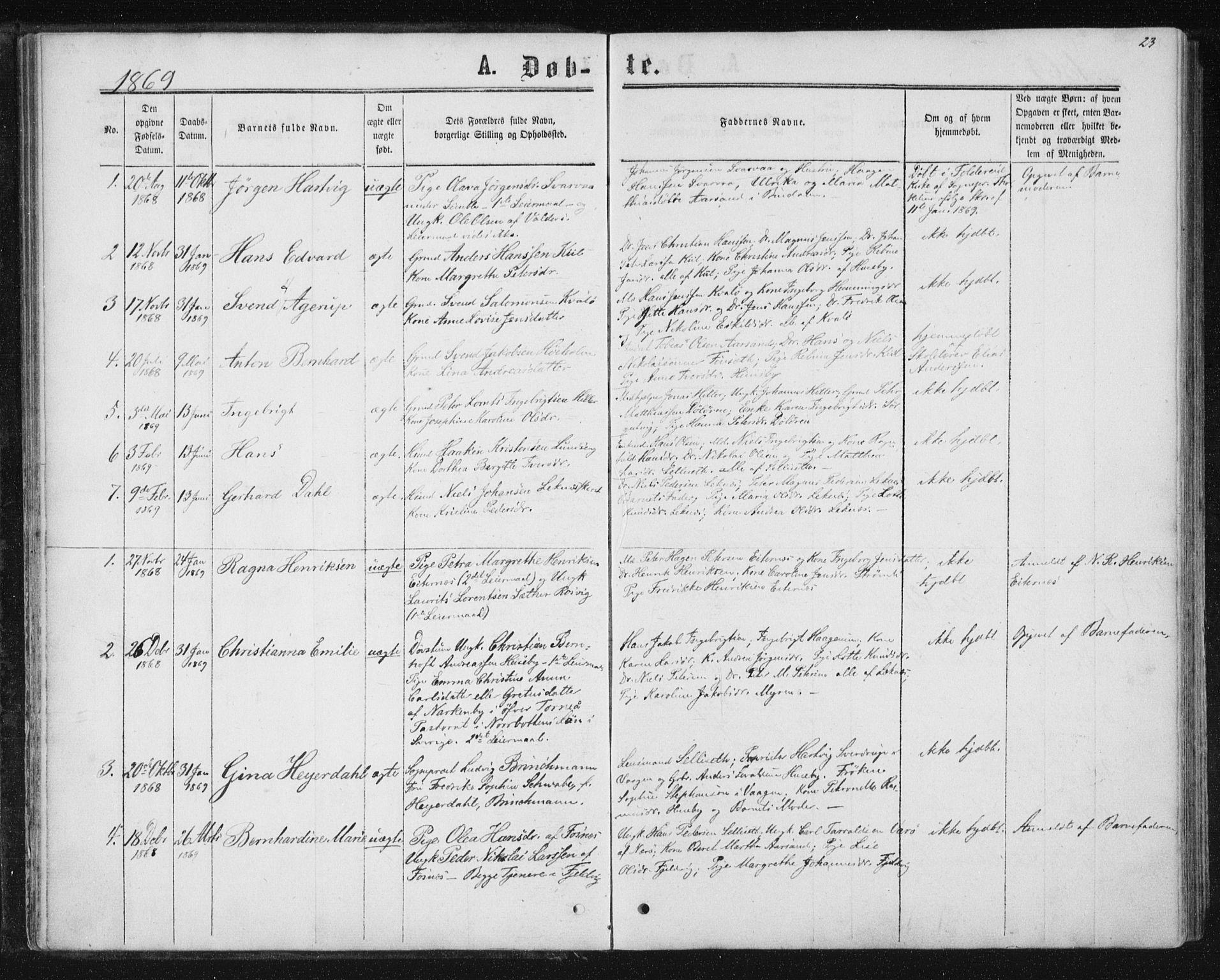 SAT, Ministerialprotokoller, klokkerbøker og fødselsregistre - Nord-Trøndelag, 788/L0696: Ministerialbok nr. 788A03, 1863-1877, s. 23