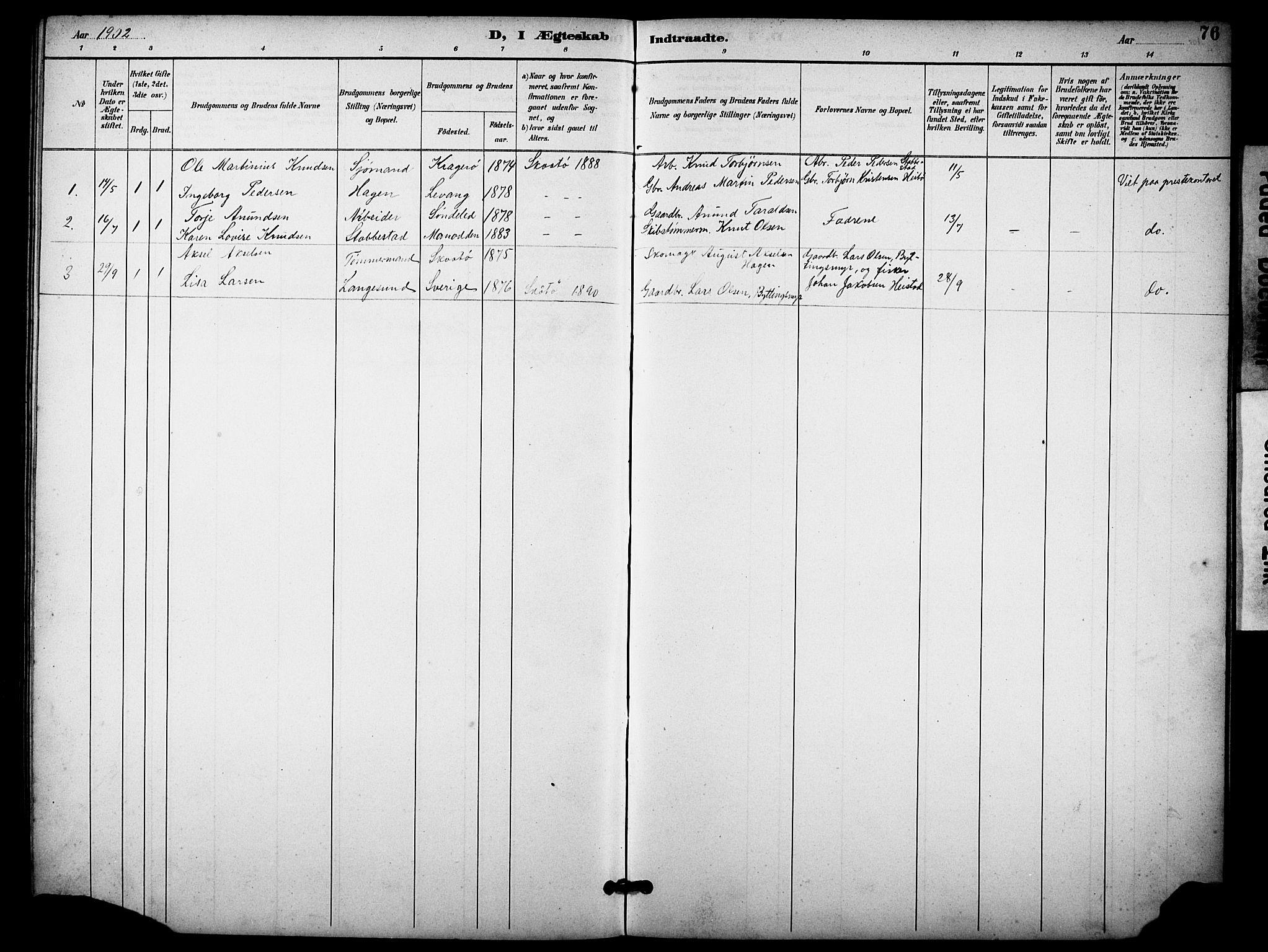 SAKO, Skåtøy kirkebøker, G/Gb/L0001: Klokkerbok nr. II 1, 1892-1916, s. 76
