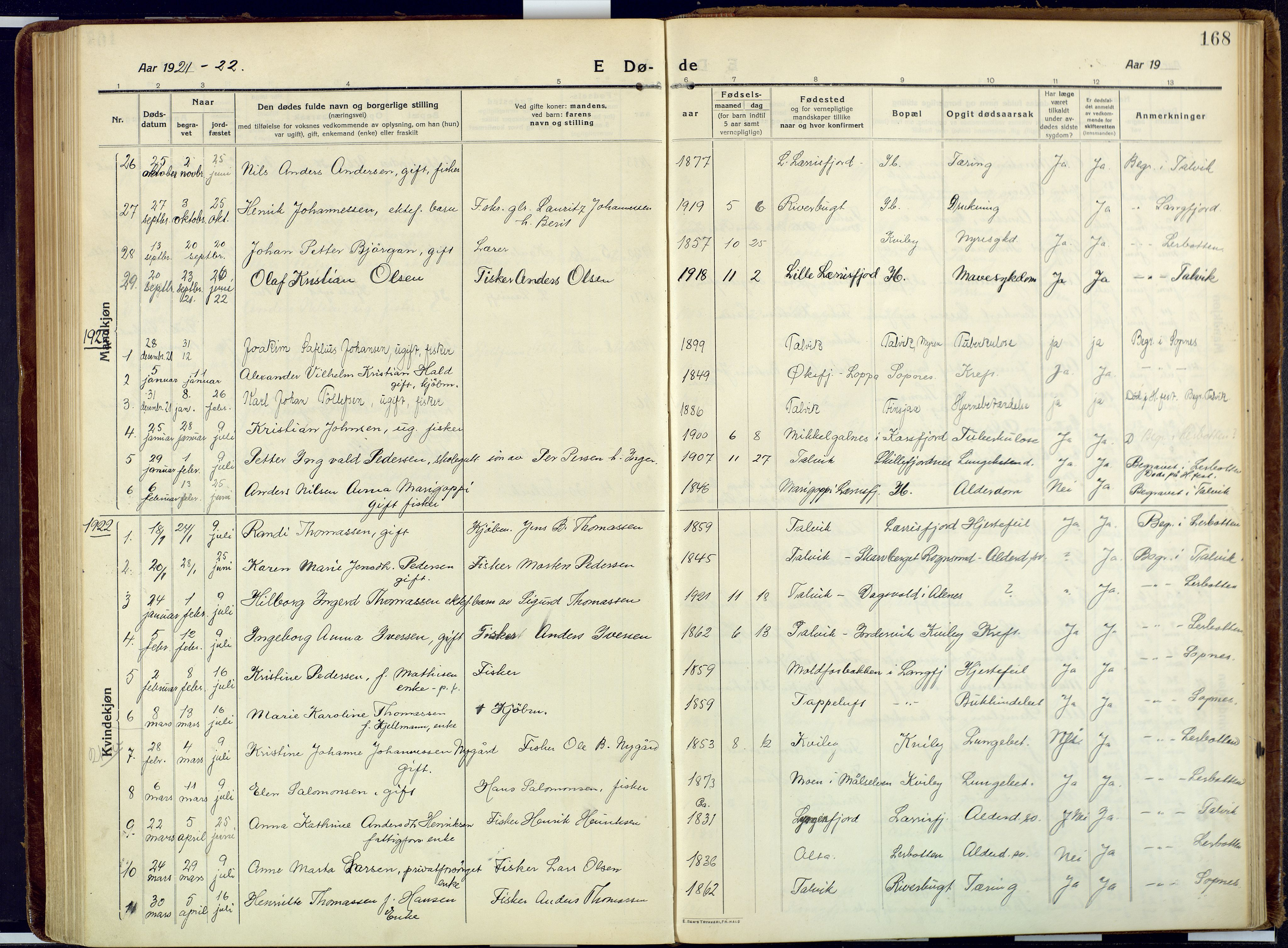 SATØ, Talvik sokneprestkontor, H/Ha/L0018kirke: Ministerialbok nr. 18, 1915-1924, s. 168