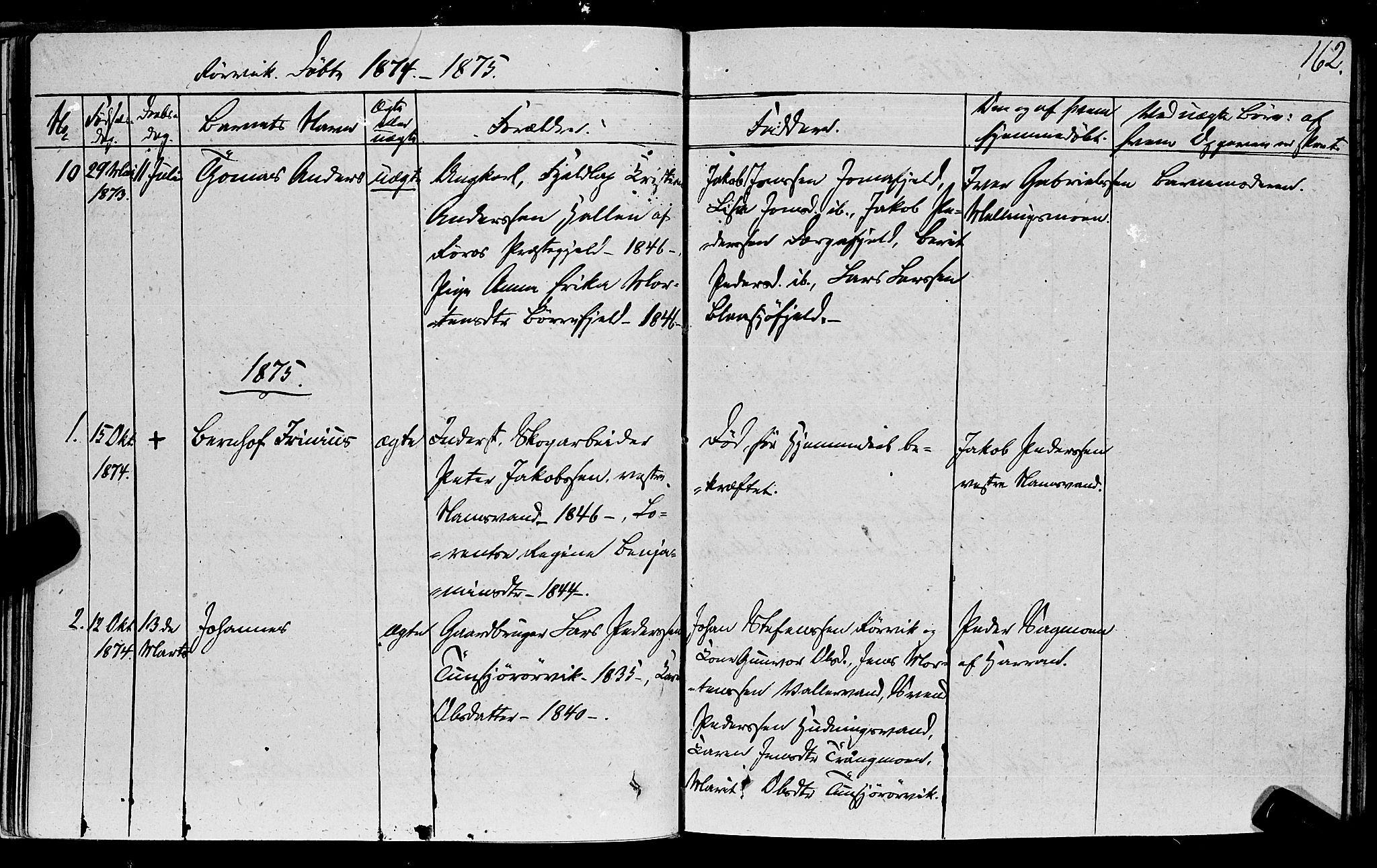 SAT, Ministerialprotokoller, klokkerbøker og fødselsregistre - Nord-Trøndelag, 762/L0538: Ministerialbok nr. 762A02 /1, 1833-1879, s. 162