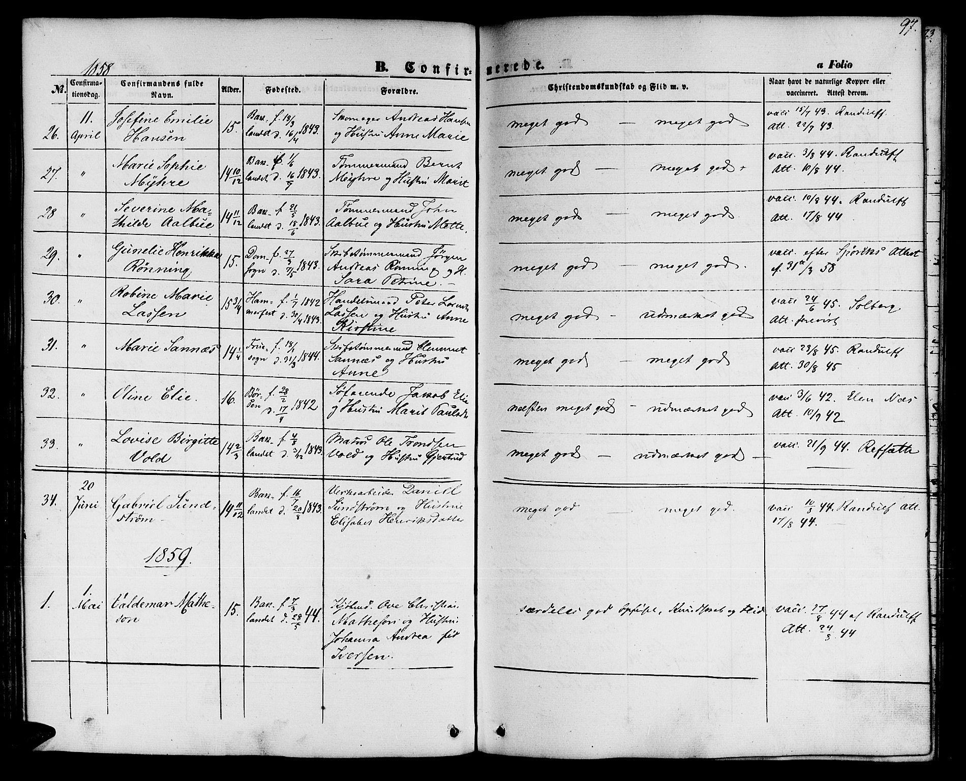 SAT, Ministerialprotokoller, klokkerbøker og fødselsregistre - Sør-Trøndelag, 604/L0184: Ministerialbok nr. 604A05, 1851-1860, s. 97