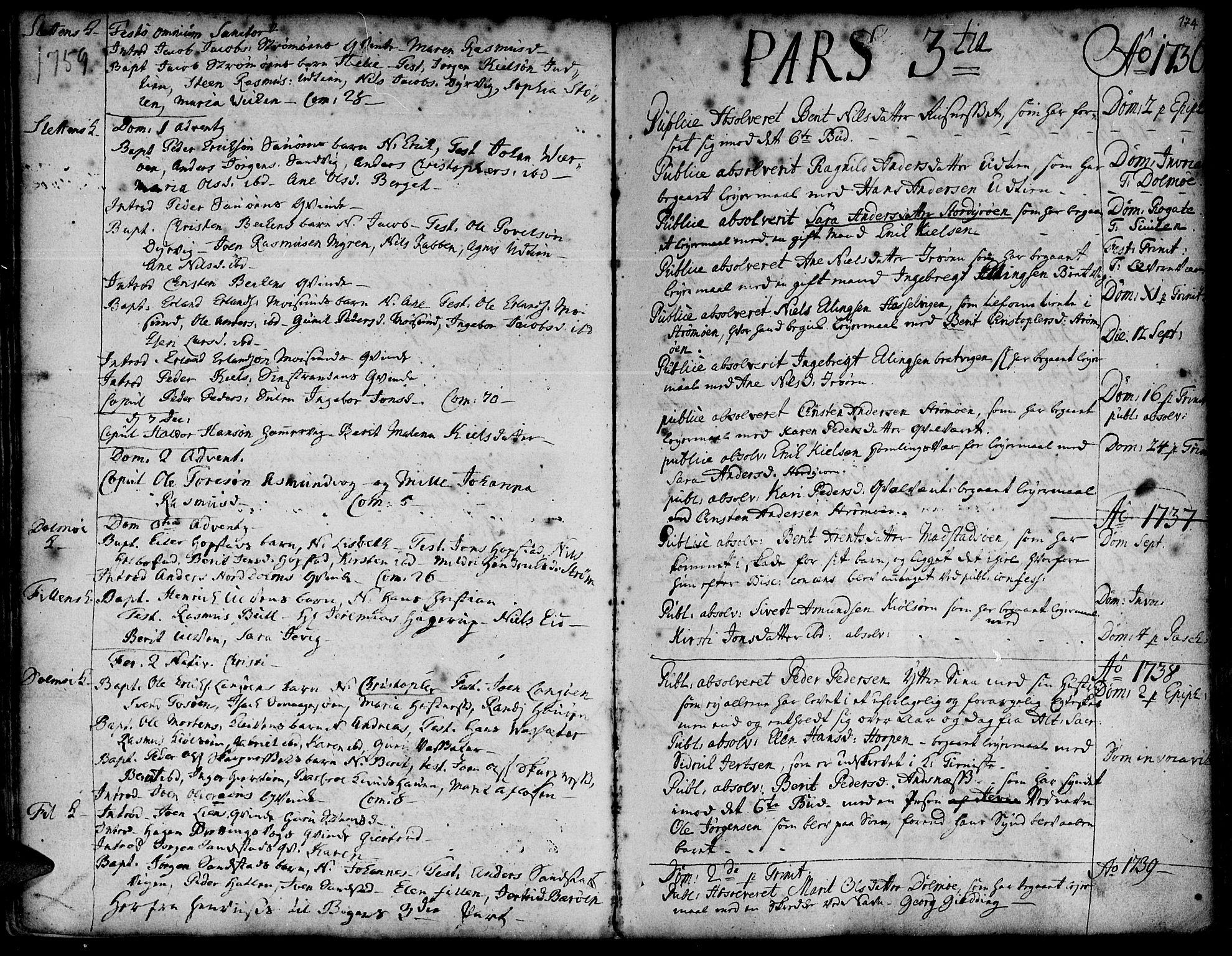 SAT, Ministerialprotokoller, klokkerbøker og fødselsregistre - Sør-Trøndelag, 634/L0525: Ministerialbok nr. 634A01, 1736-1775, s. 174