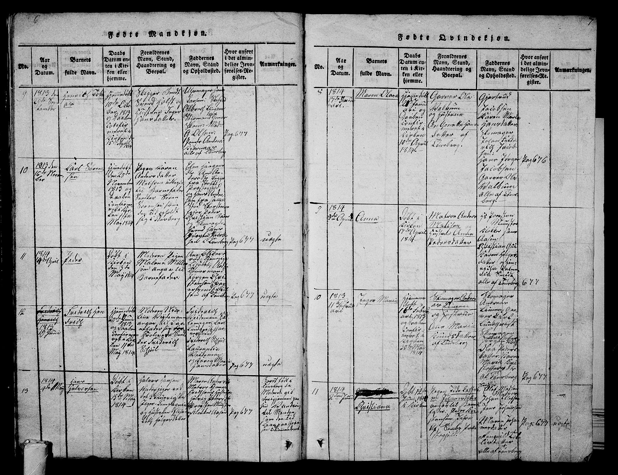 SAKO, Tønsberg kirkebøker, G/Ga/L0001: Klokkerbok nr. 1, 1813-1826, s. 6-7