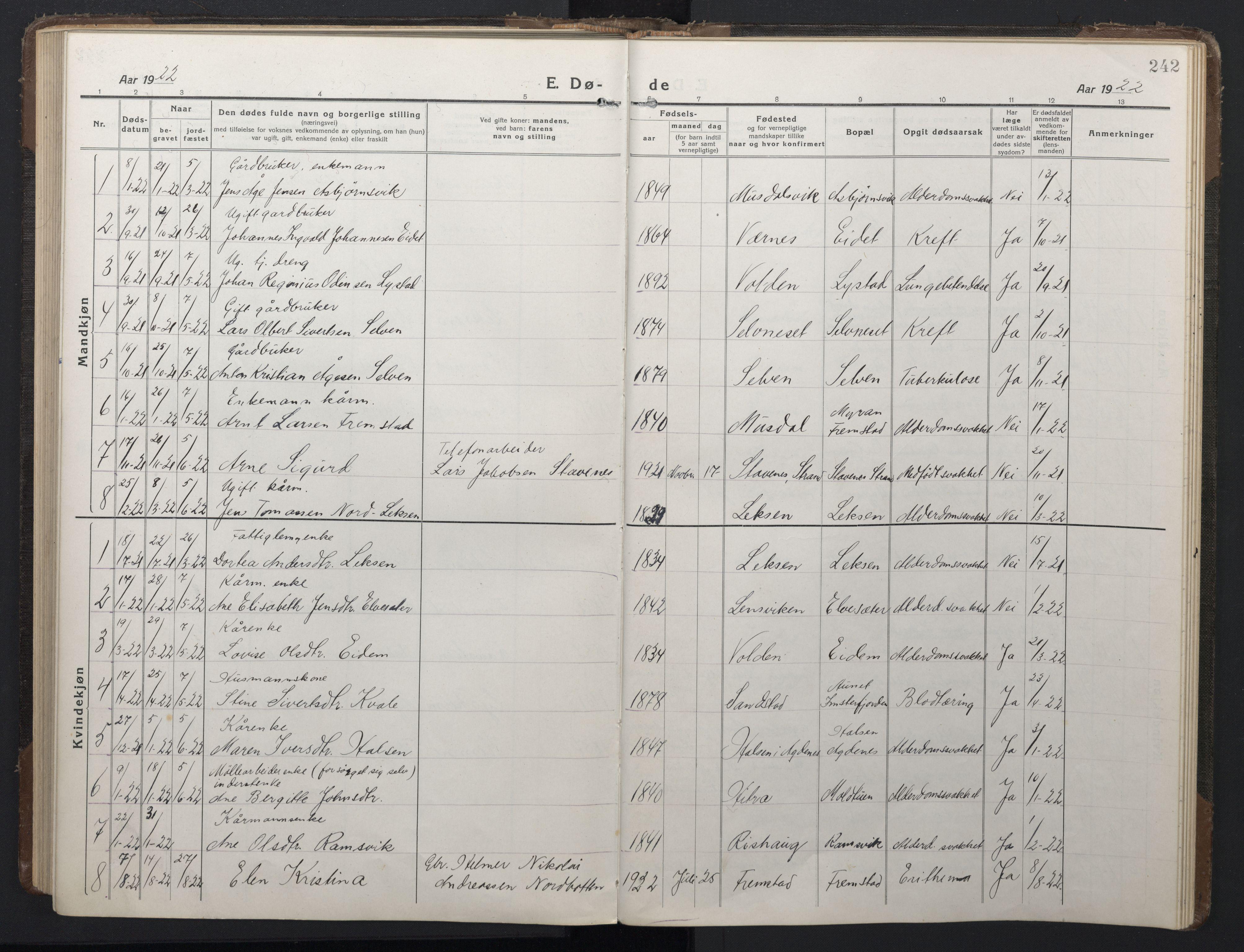 SAT, Ministerialprotokoller, klokkerbøker og fødselsregistre - Sør-Trøndelag, 662/L0758: Klokkerbok nr. 662C03, 1918-1948, s. 242