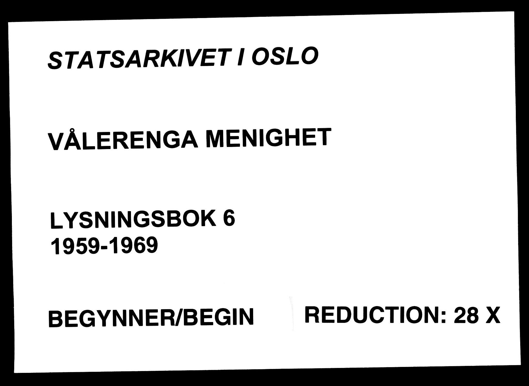 SAO, Vålerengen prestekontor Kirkebøker, H/Ha/L0006: Lysningsprotokoll nr. 6, 1959-1969