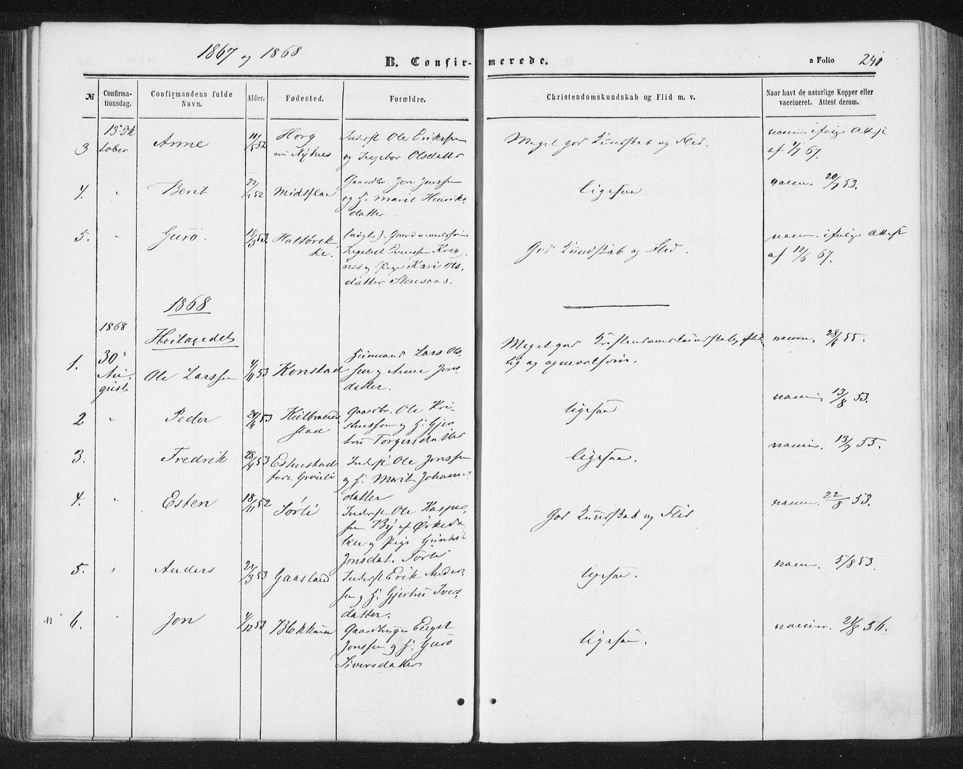 SAT, Ministerialprotokoller, klokkerbøker og fødselsregistre - Sør-Trøndelag, 691/L1077: Ministerialbok nr. 691A09, 1862-1873, s. 241
