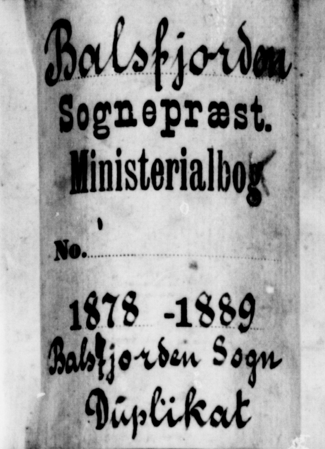 SATØ, Balsfjord sokneprestembete, Klokkerbok nr. 7, 1878-1889