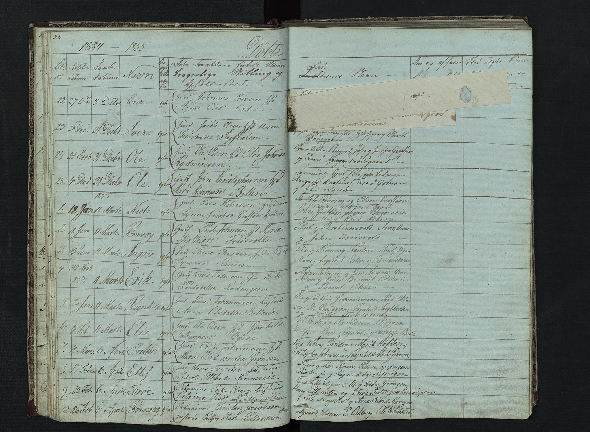 SAH, Lom prestekontor, L/L0014: Klokkerbok nr. 14, 1845-1876, s. 32-33