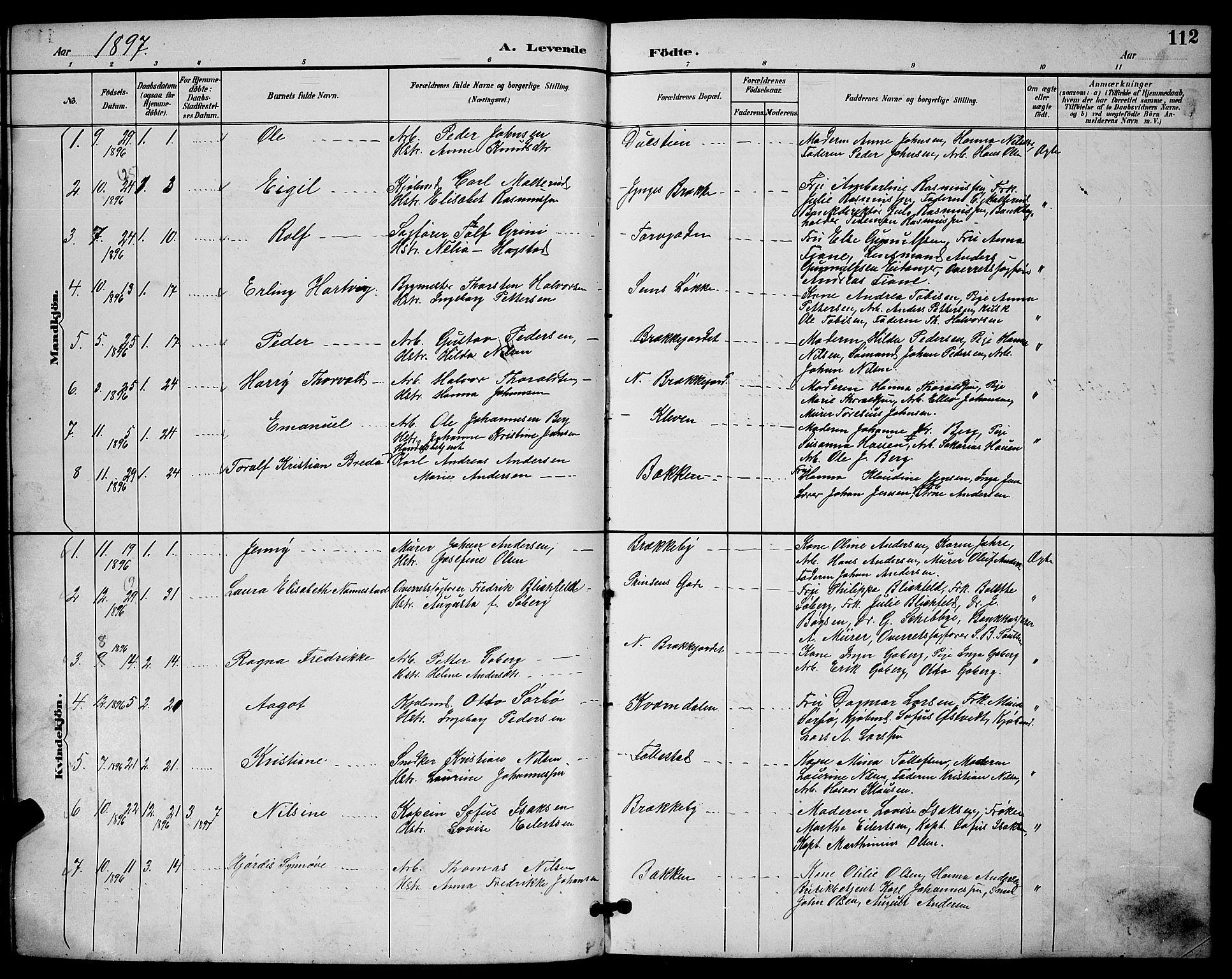 SAKO, Skien kirkebøker, G/Ga/L0007: Klokkerbok nr. 7, 1891-1900, s. 112