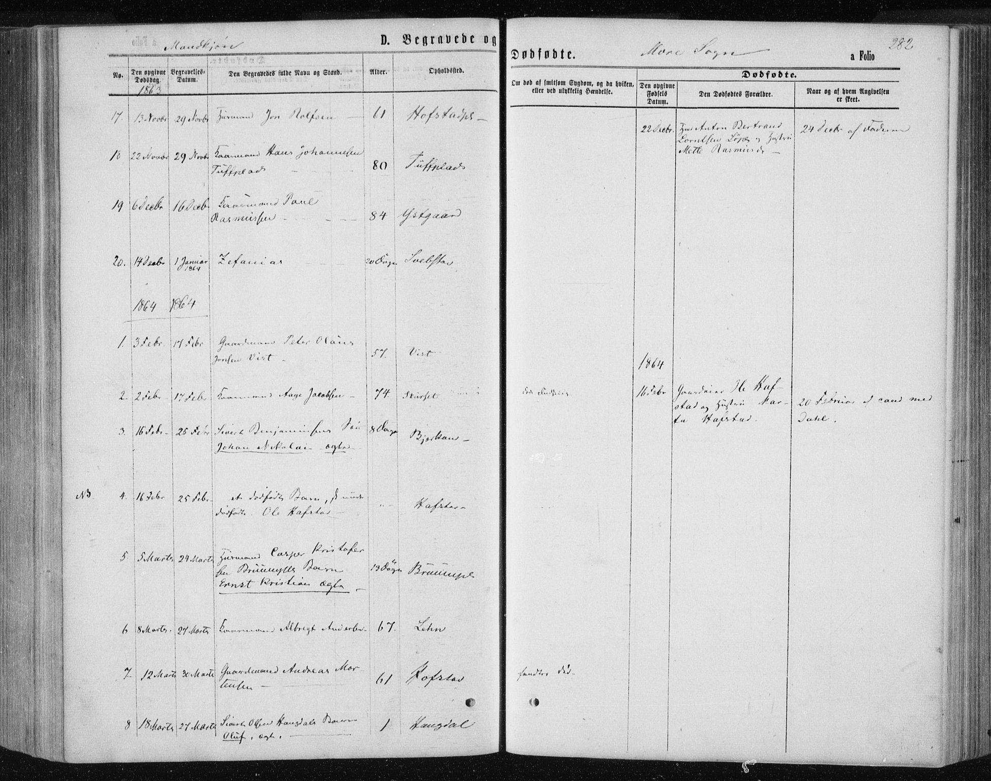 SAT, Ministerialprotokoller, klokkerbøker og fødselsregistre - Nord-Trøndelag, 735/L0345: Ministerialbok nr. 735A08 /1, 1863-1872, s. 282
