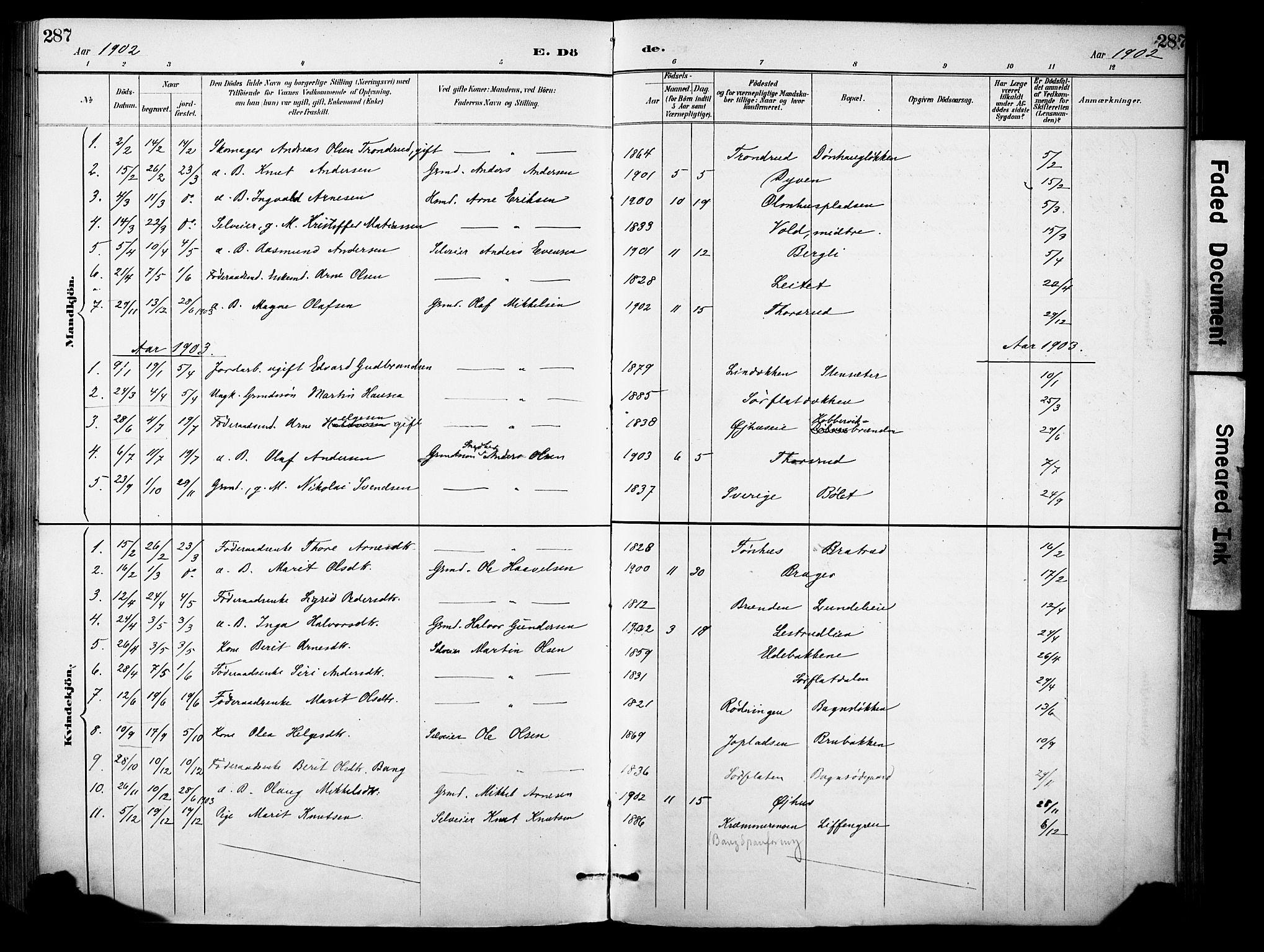 SAH, Sør-Aurdal prestekontor, Ministerialbok nr. 9, 1886-1906, s. 287