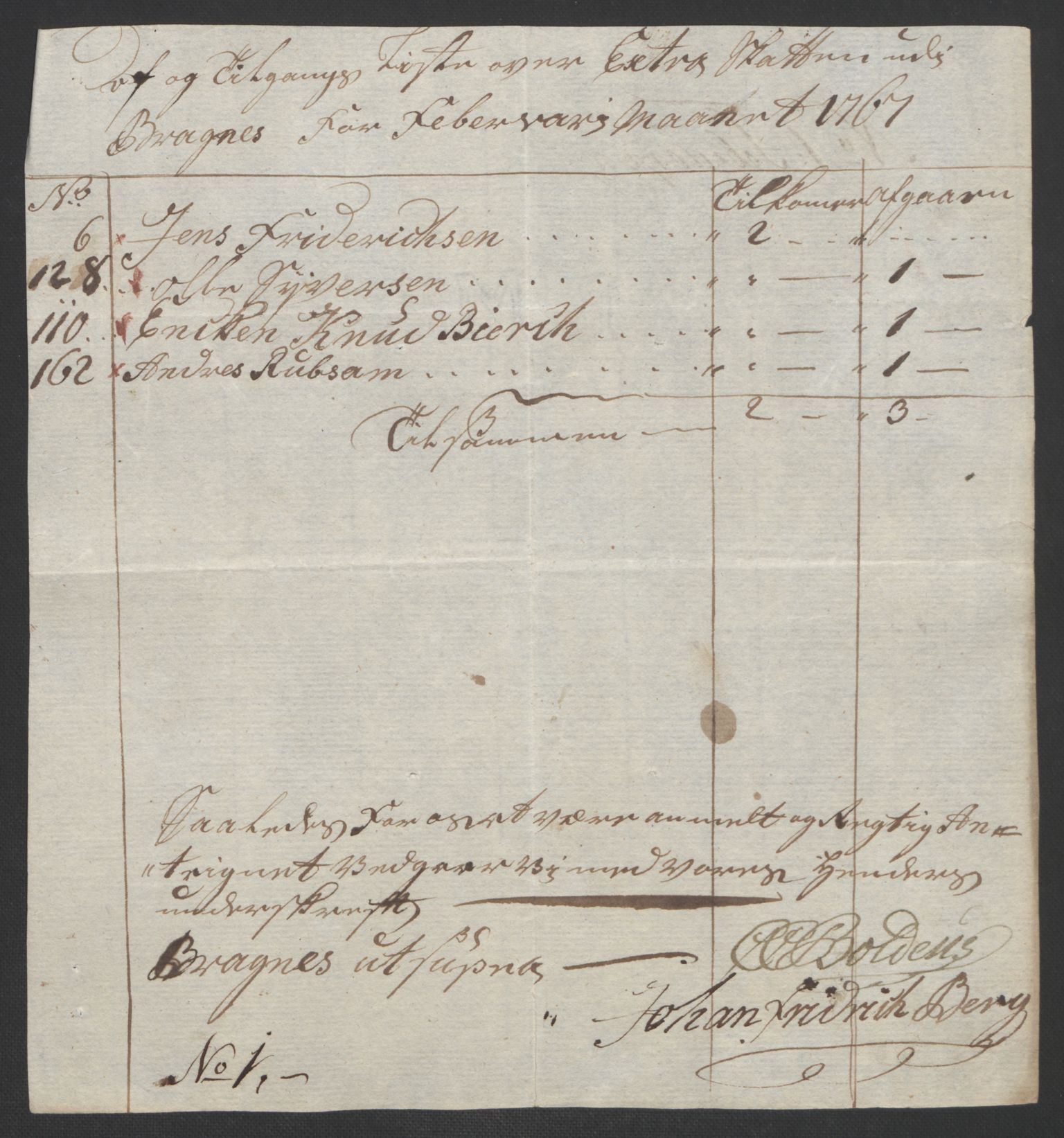 RA, Rentekammeret inntil 1814, Reviderte regnskaper, Byregnskaper, R/Rf/L0119: [F2] Kontribusjonsregnskap, 1762-1767, s. 397