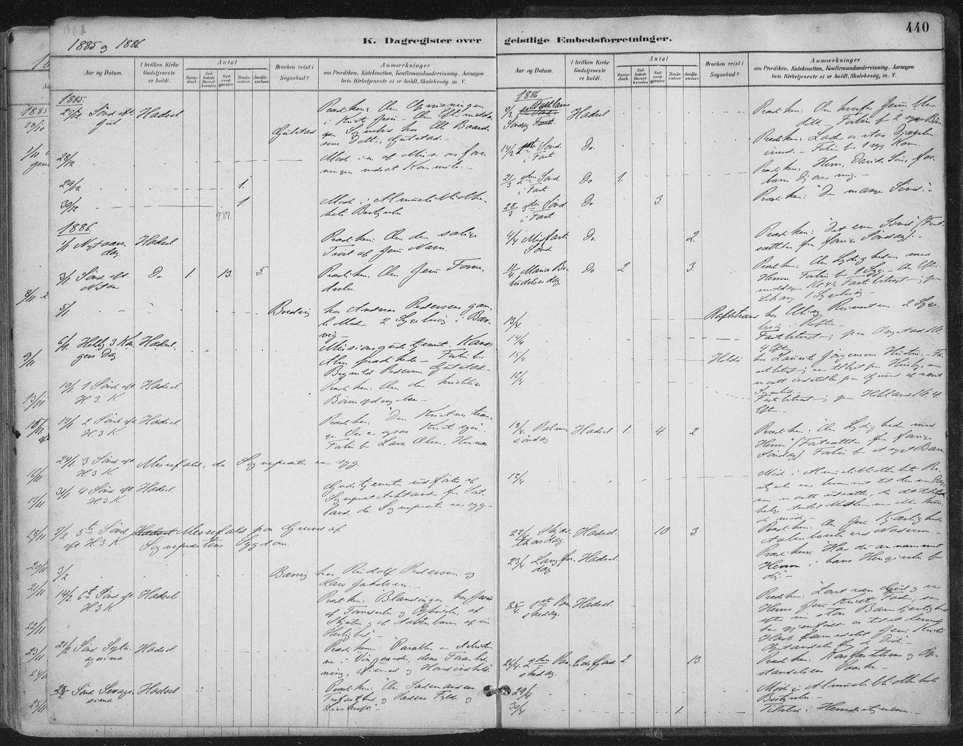 SAT, Ministerialprotokoller, klokkerbøker og fødselsregistre - Nordland, 888/L1244: Ministerialbok nr. 888A10, 1880-1890, s. 440