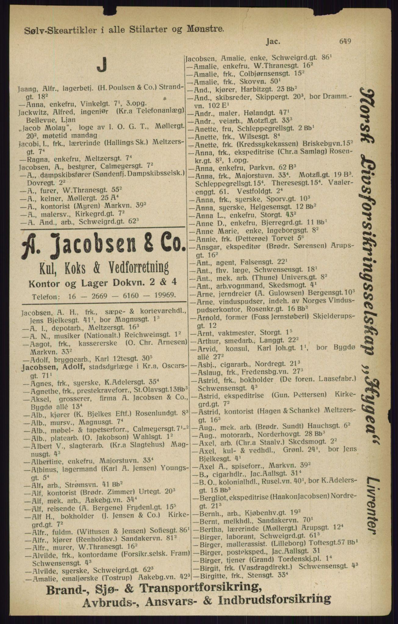 RA, Kristiania adressebok (publikasjon)*, 1916, s. 649
