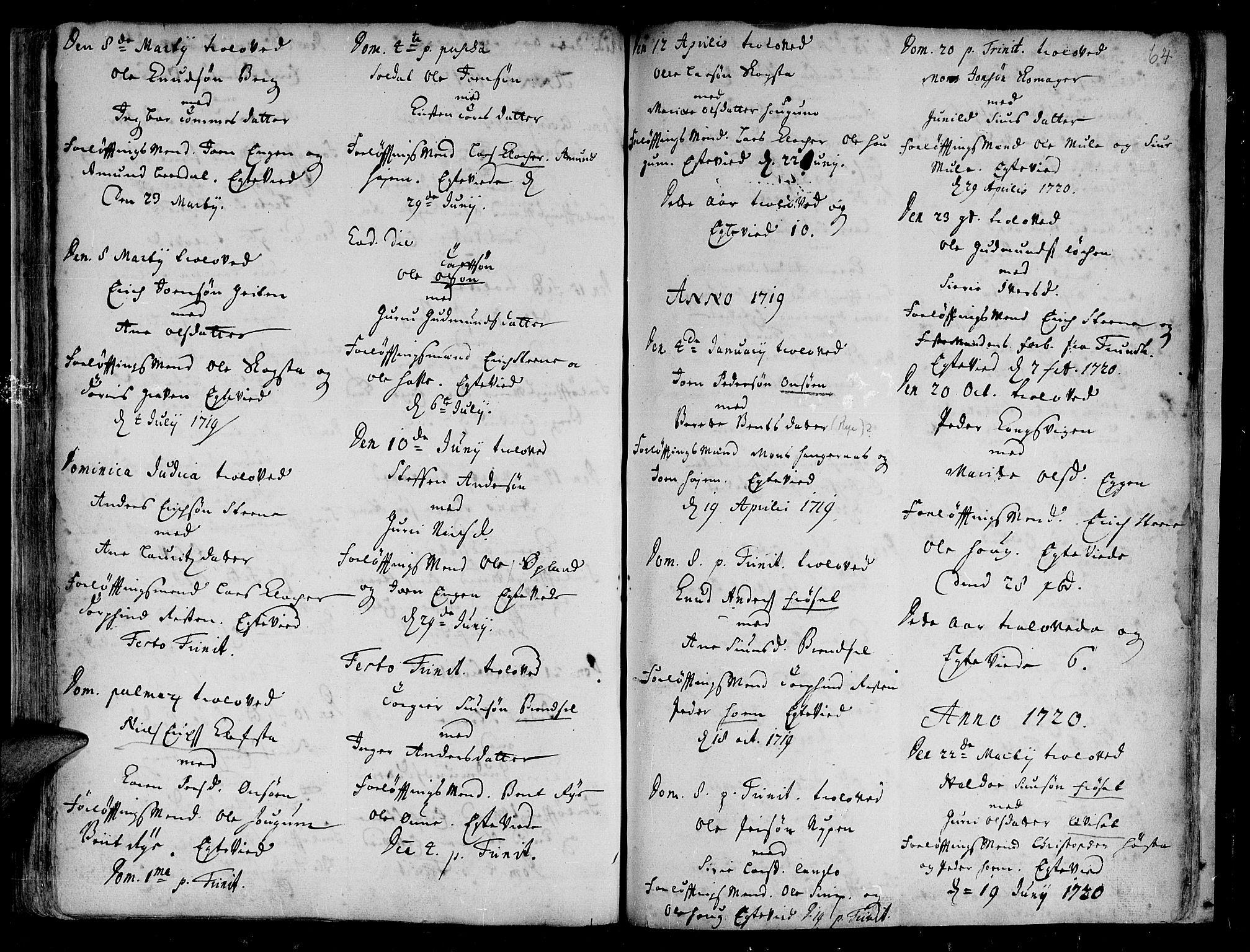 SAT, Ministerialprotokoller, klokkerbøker og fødselsregistre - Sør-Trøndelag, 612/L0368: Ministerialbok nr. 612A02, 1702-1753, s. 64