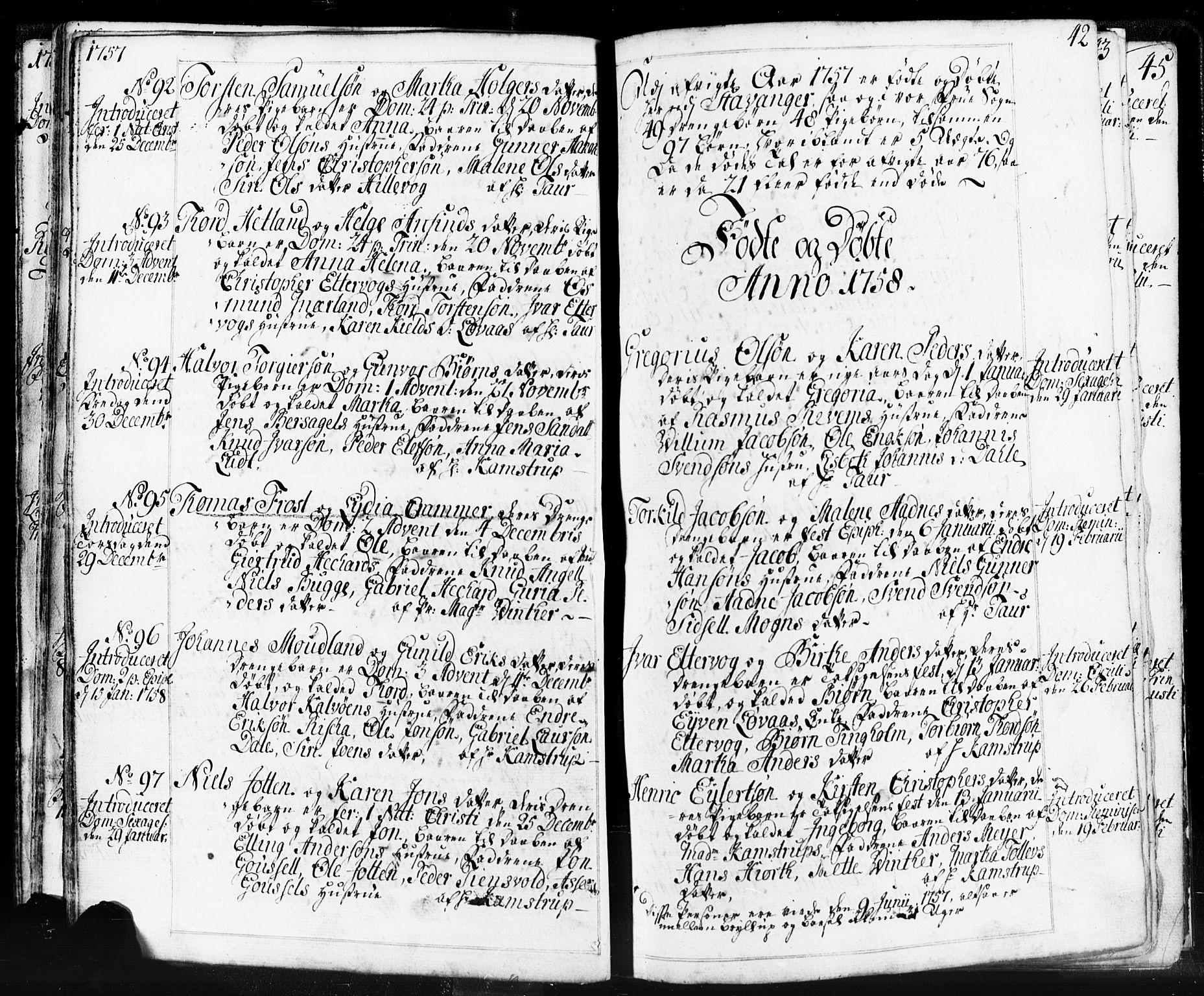 SAST, Domkirken sokneprestkontor, 30/30BB/L0004: Klokkerbok nr. B 4, 1752-1790, s. 42