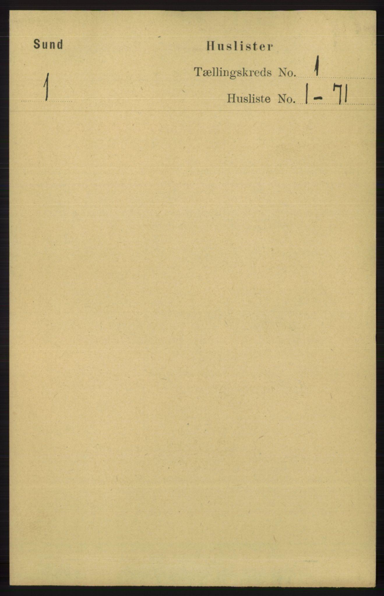 RA, Folketelling 1891 for 1245 Sund herred, 1891, s. 16