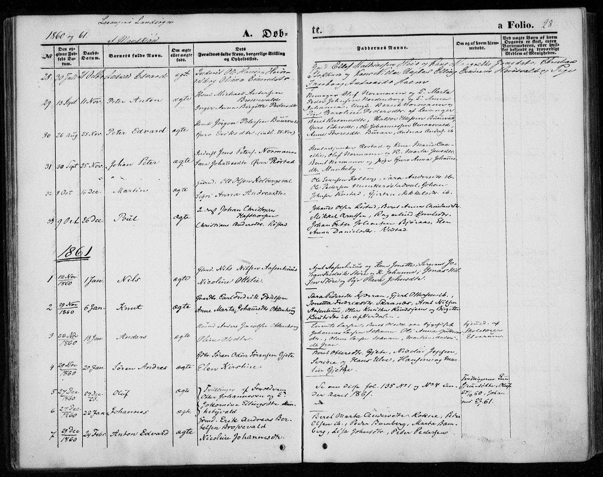 SAT, Ministerialprotokoller, klokkerbøker og fødselsregistre - Nord-Trøndelag, 720/L0184: Ministerialbok nr. 720A02 /2, 1855-1863, s. 28
