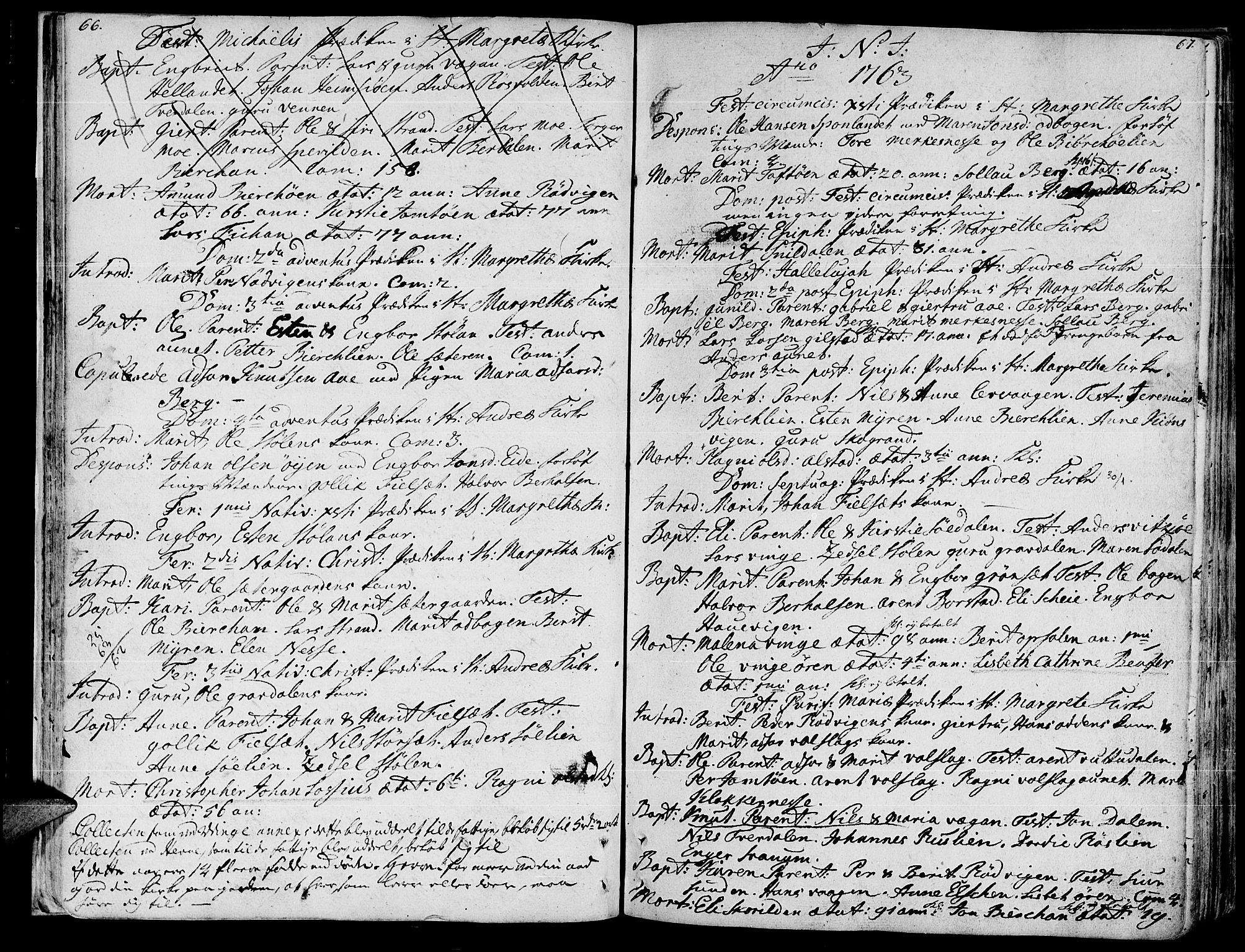 SAT, Ministerialprotokoller, klokkerbøker og fødselsregistre - Sør-Trøndelag, 630/L0489: Ministerialbok nr. 630A02, 1757-1794, s. 66-67