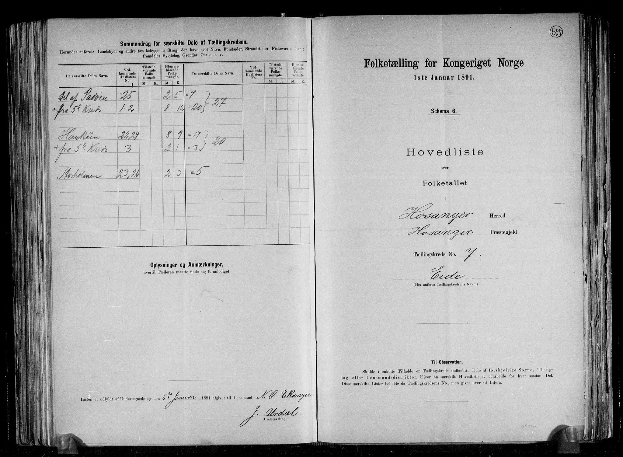 RA, Folketelling 1891 for 1253 Hosanger herred, 1891, s. 16