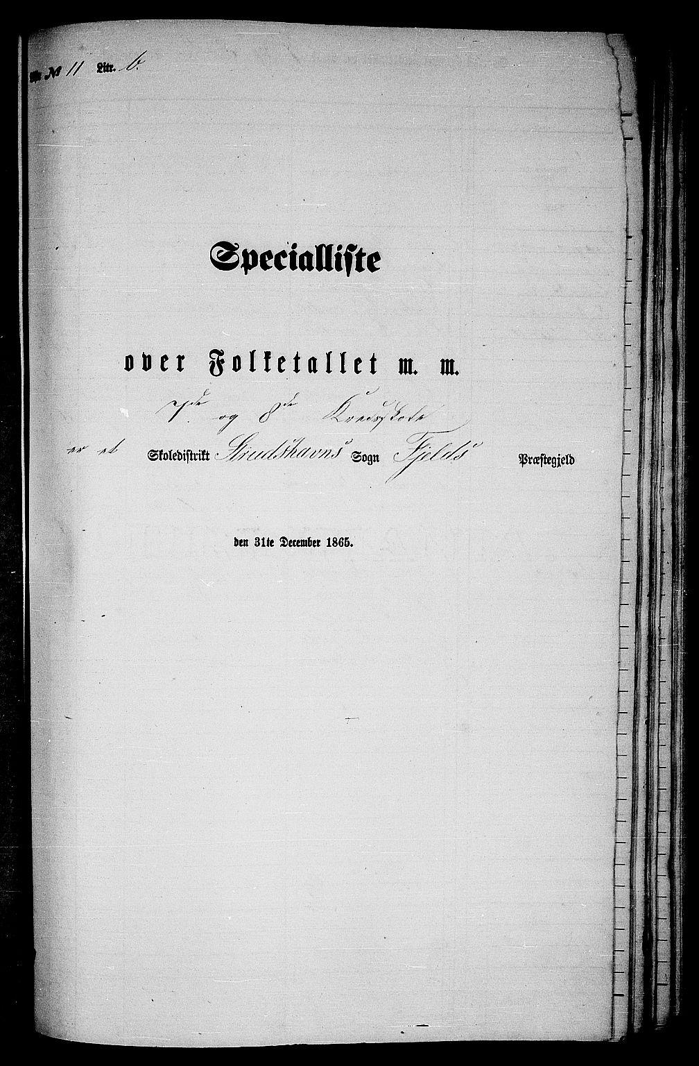 RA, Folketelling 1865 for 1246P Fjell prestegjeld, 1865, s. 184