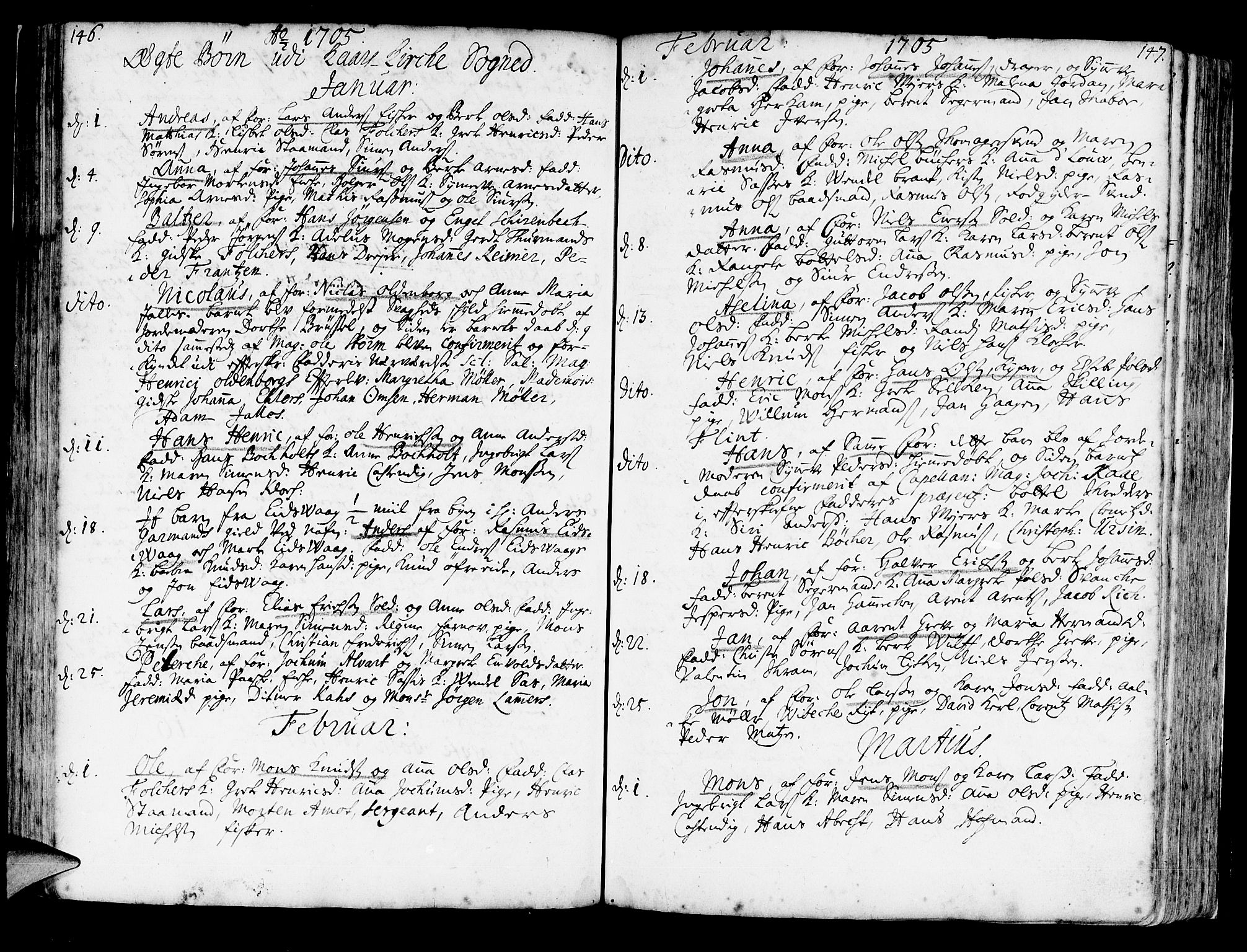 SAB, Korskirken Sokneprestembete, H/Haa/L0003: Ministerialbok nr. A 3, 1698-1719, s. 146-147