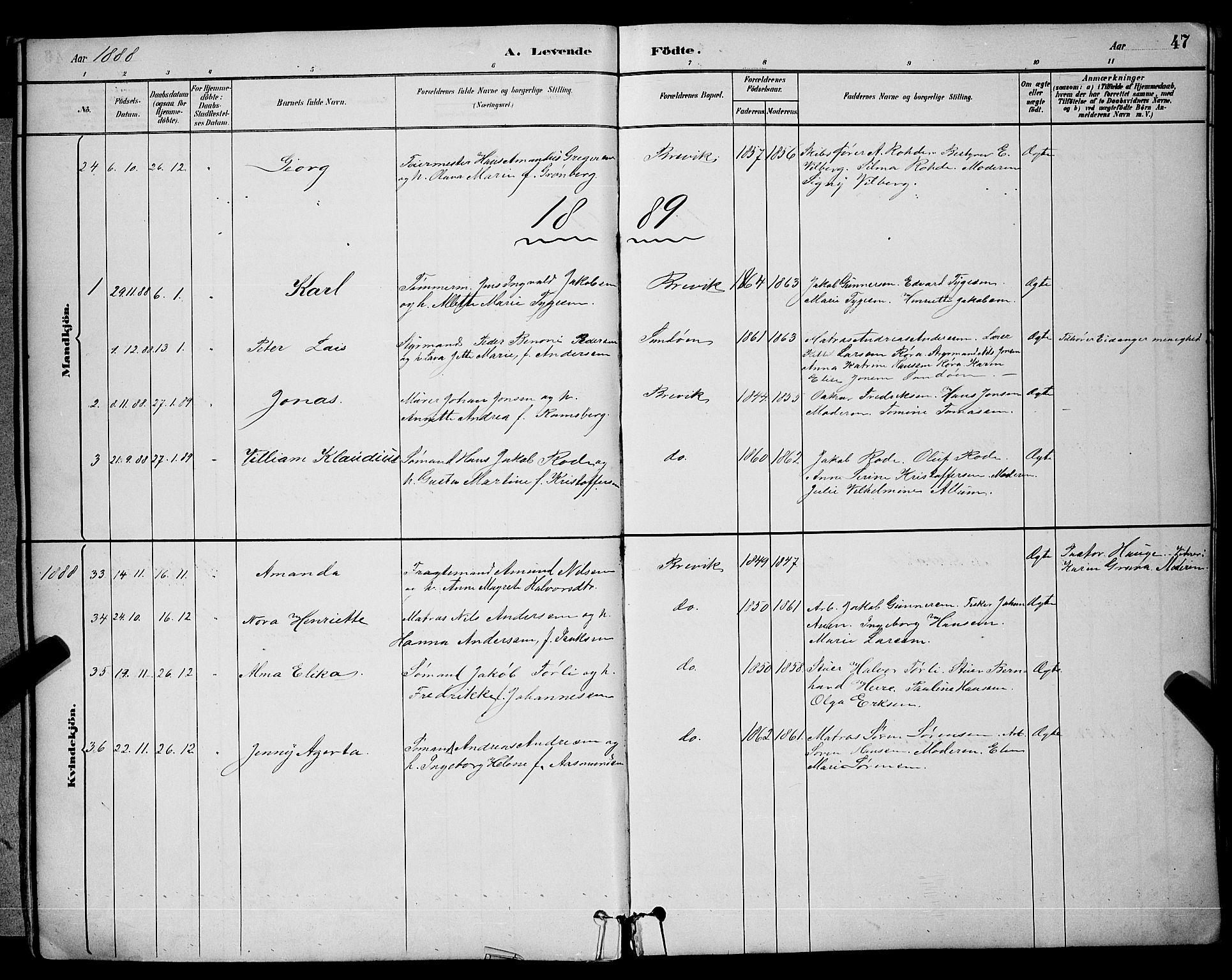 SAKO, Brevik kirkebøker, G/Ga/L0004: Klokkerbok nr. 4, 1882-1900, s. 47