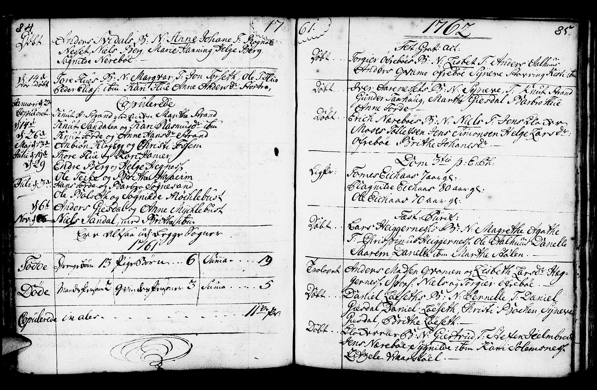 SAB, Jølster Sokneprestembete, Ministerialbok nr. A 3, 1748-1789, s. 84-85
