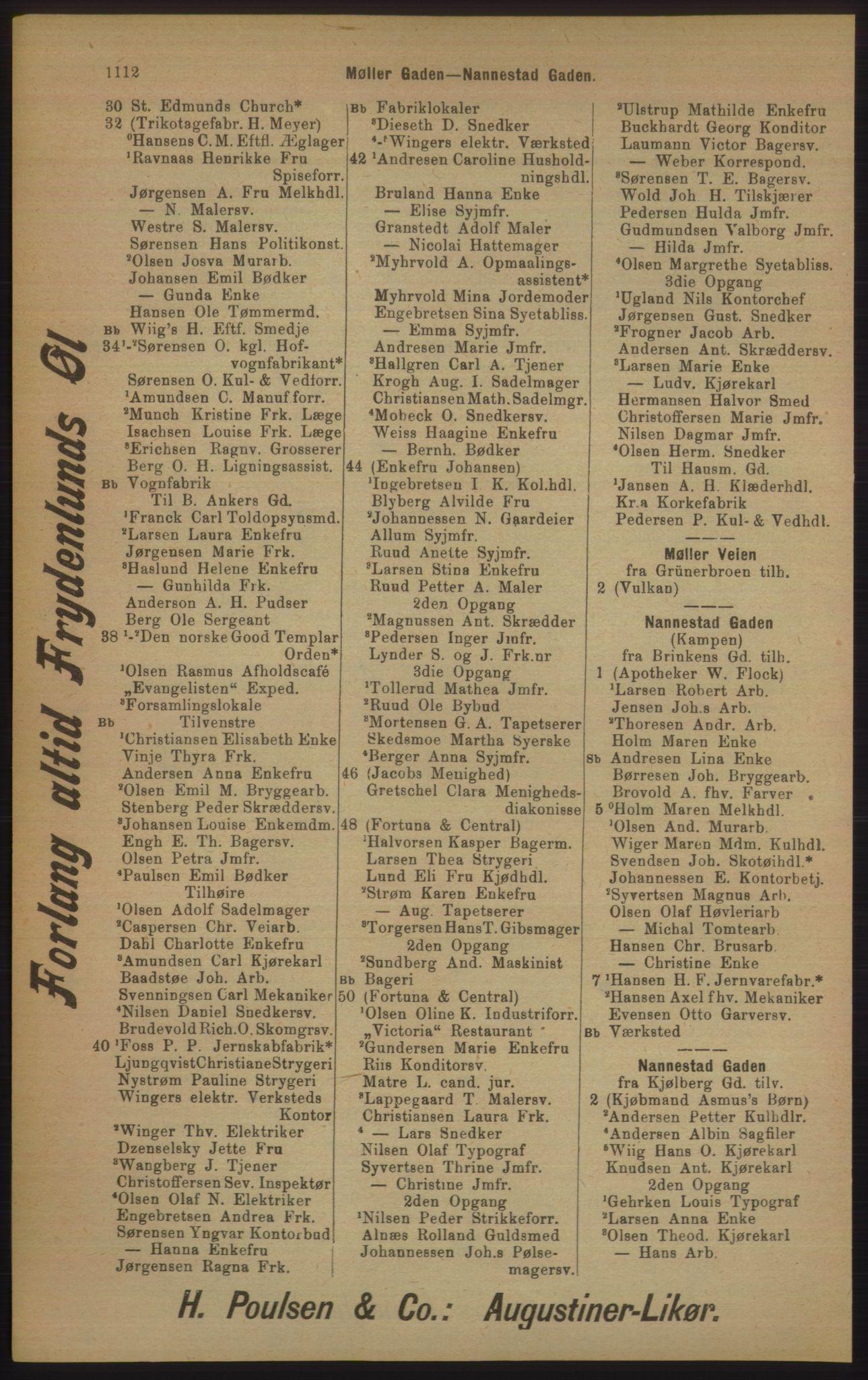 RA, Kristiania adressebok (publikasjon)*, 1905, s. 1112