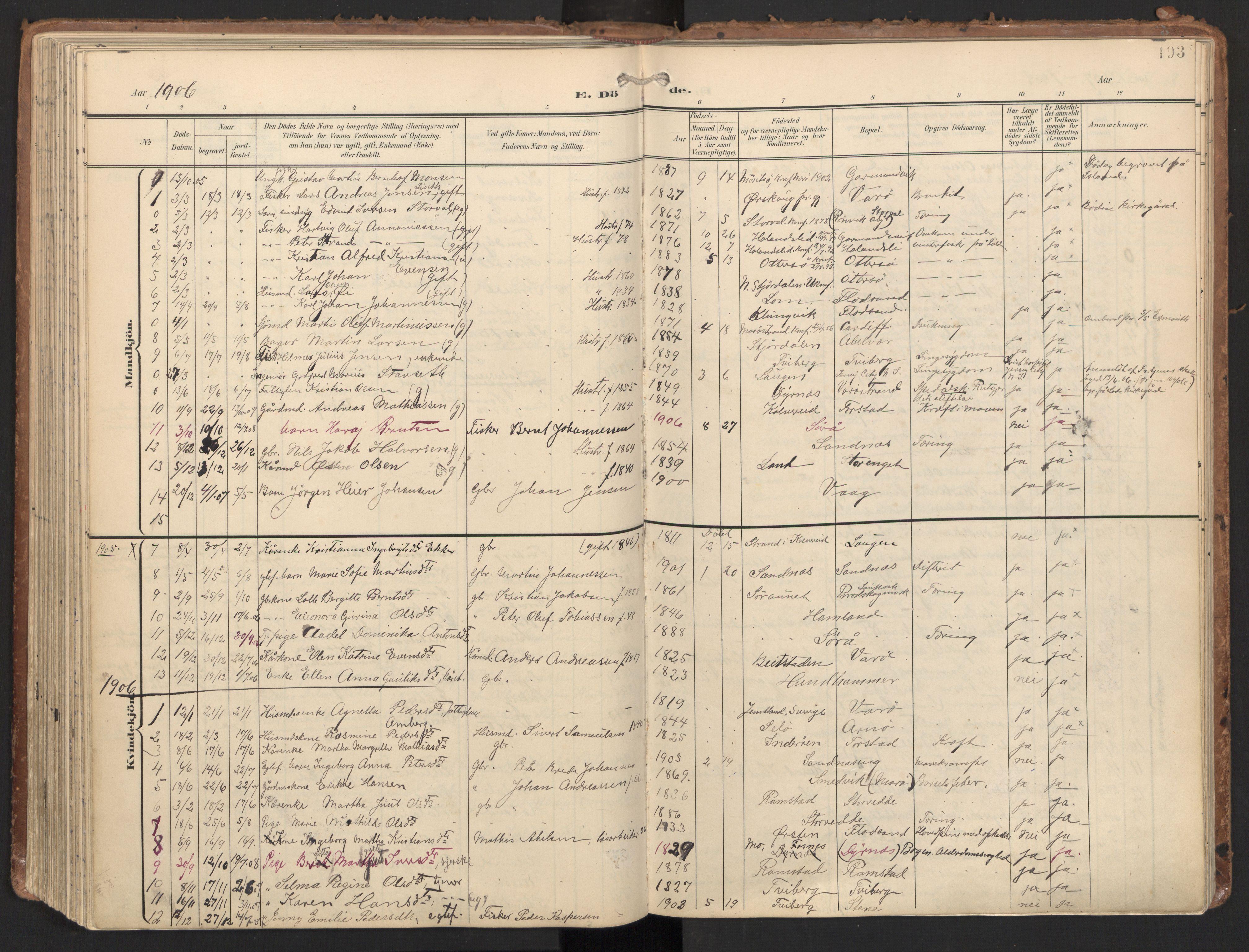 SAT, Ministerialprotokoller, klokkerbøker og fødselsregistre - Nord-Trøndelag, 784/L0677: Ministerialbok nr. 784A12, 1900-1920, s. 193