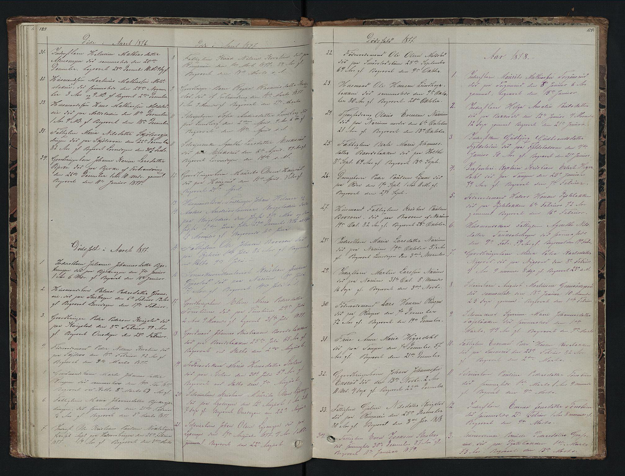 SAH, Vestre Toten prestekontor, H/Ha/Hab/L0007: Klokkerbok nr. 7, 1872-1900, s. 124-125