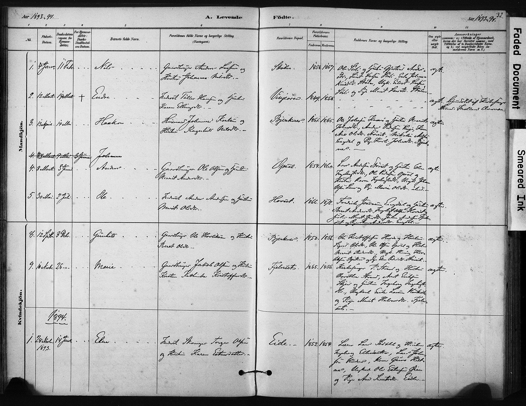 SAT, Ministerialprotokoller, klokkerbøker og fødselsregistre - Sør-Trøndelag, 631/L0512: Ministerialbok nr. 631A01, 1879-1912, s. 32