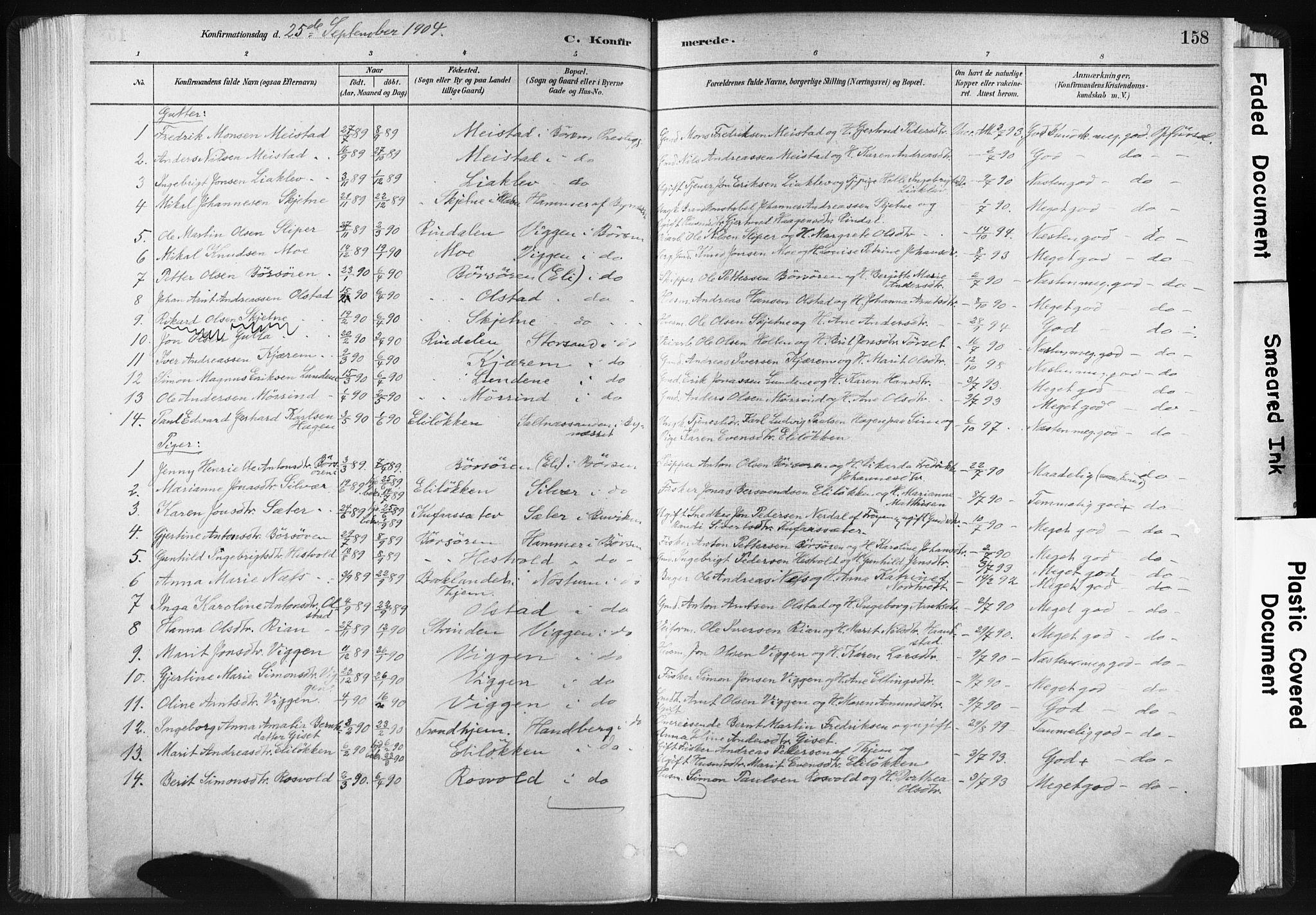 SAT, Ministerialprotokoller, klokkerbøker og fødselsregistre - Sør-Trøndelag, 665/L0773: Ministerialbok nr. 665A08, 1879-1905, s. 158