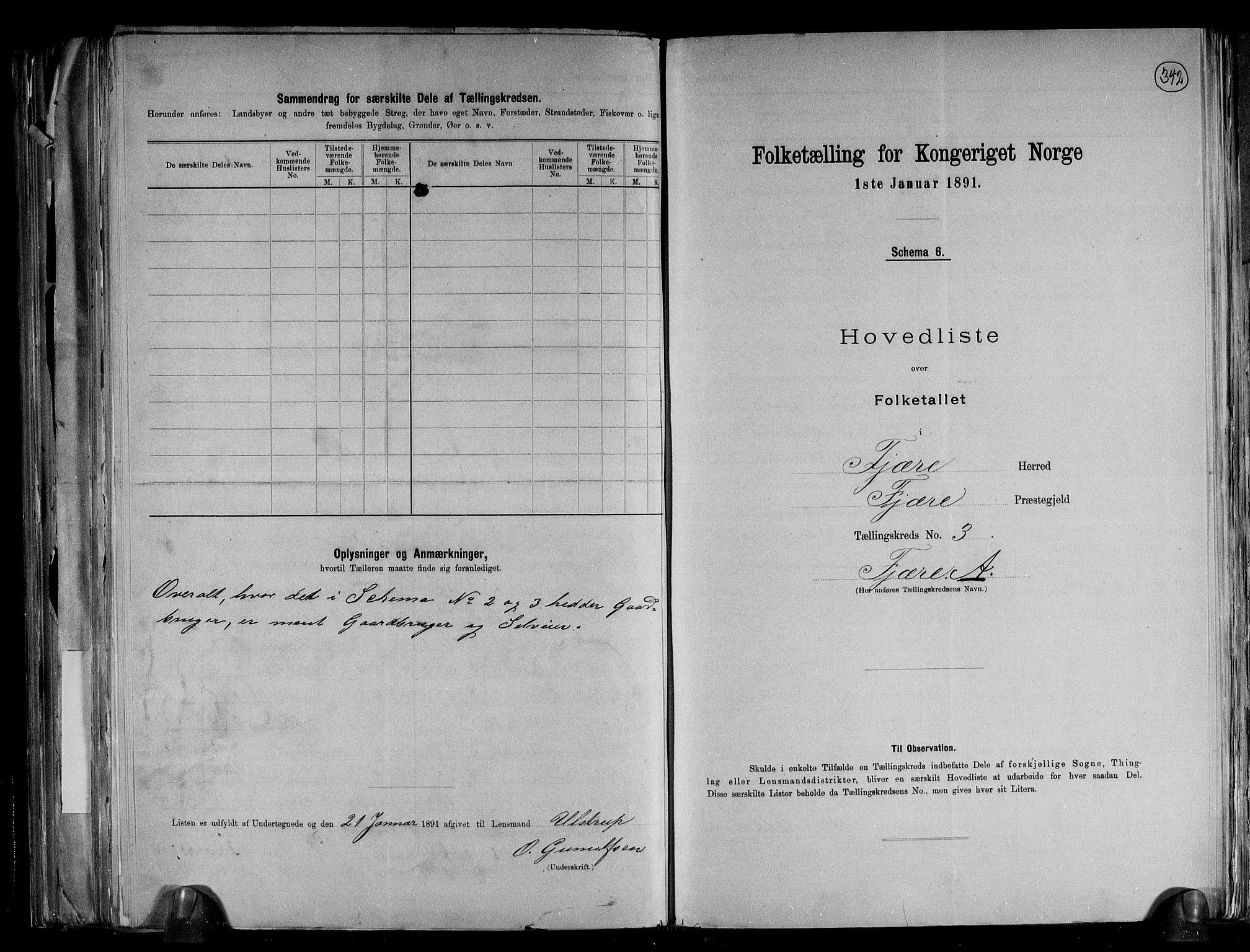 RA, Folketelling 1891 for 0923 Fjære herred, 1891, s. 9