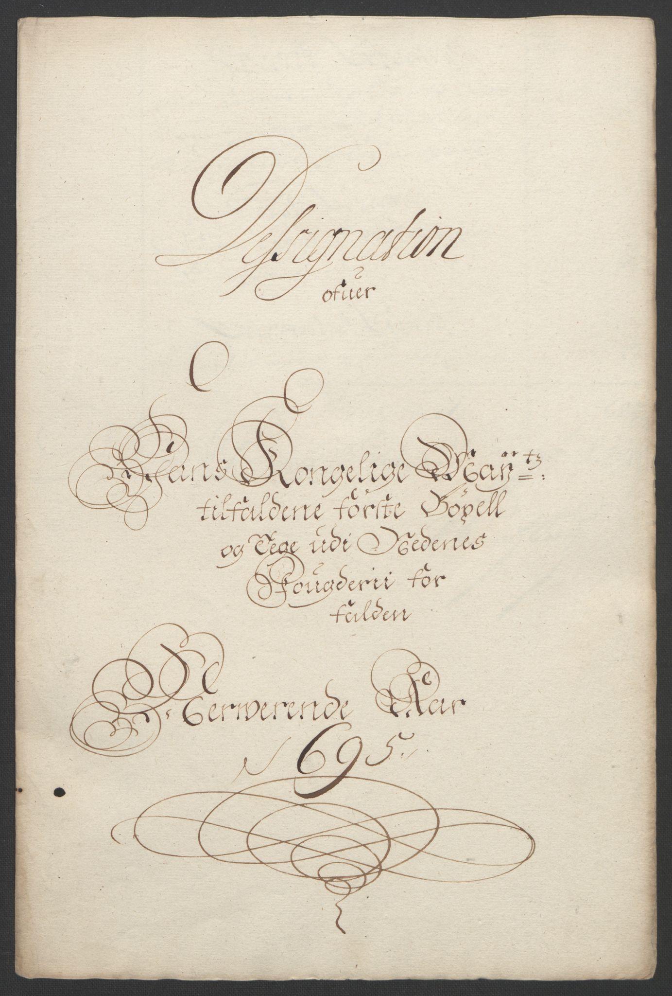 RA, Rentekammeret inntil 1814, Reviderte regnskaper, Fogderegnskap, R39/L2312: Fogderegnskap Nedenes, 1693-1695, s. 243