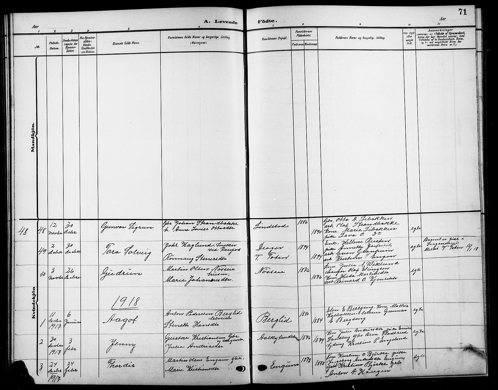 SAH, Biri prestekontor, Klokkerbok nr. 5, 1906-1919, s. 71