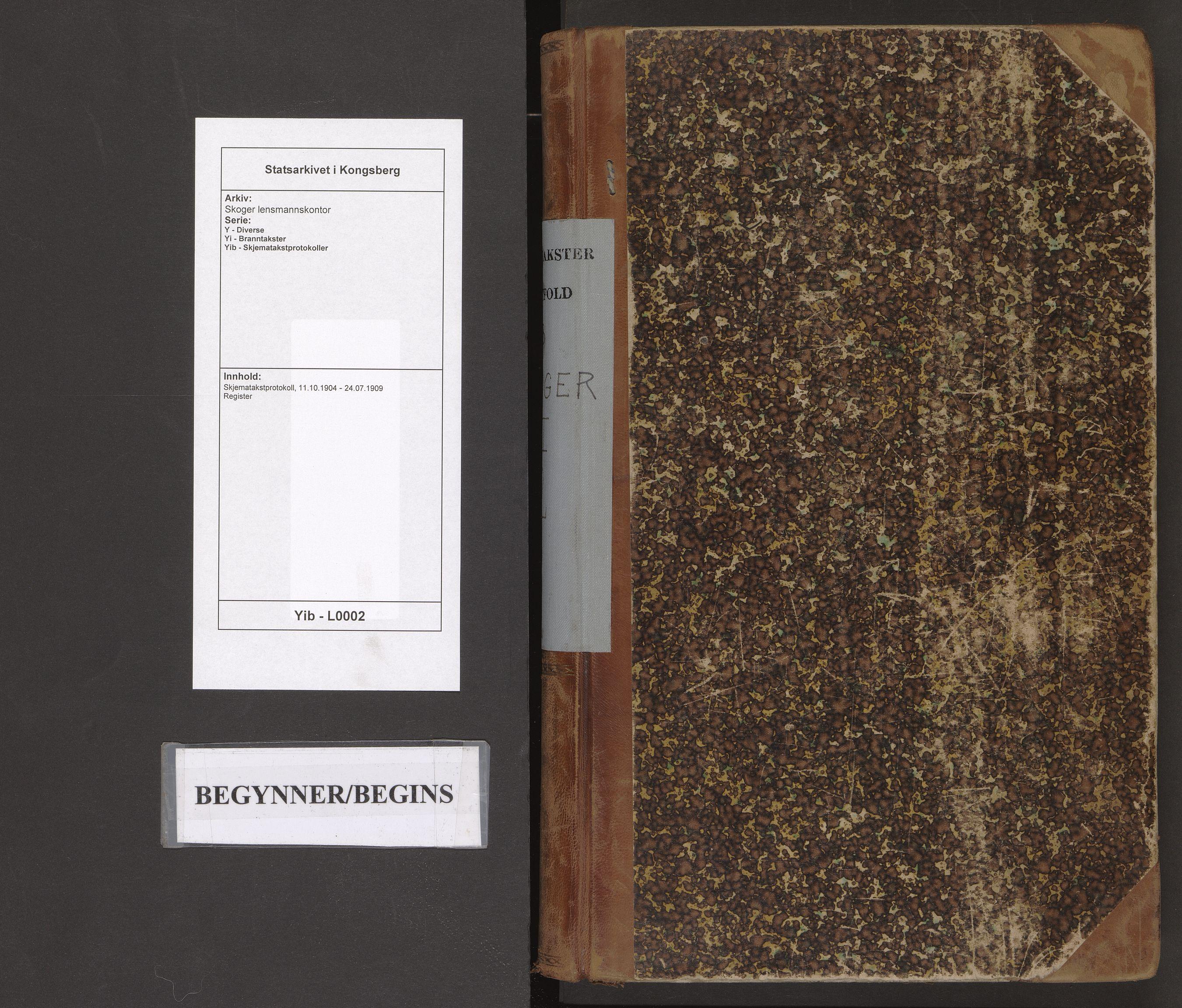 SAKO, Skoger lensmannskontor, Y/Yi/Yib/L0002: Skjematakstprotokoll, 1904-1909