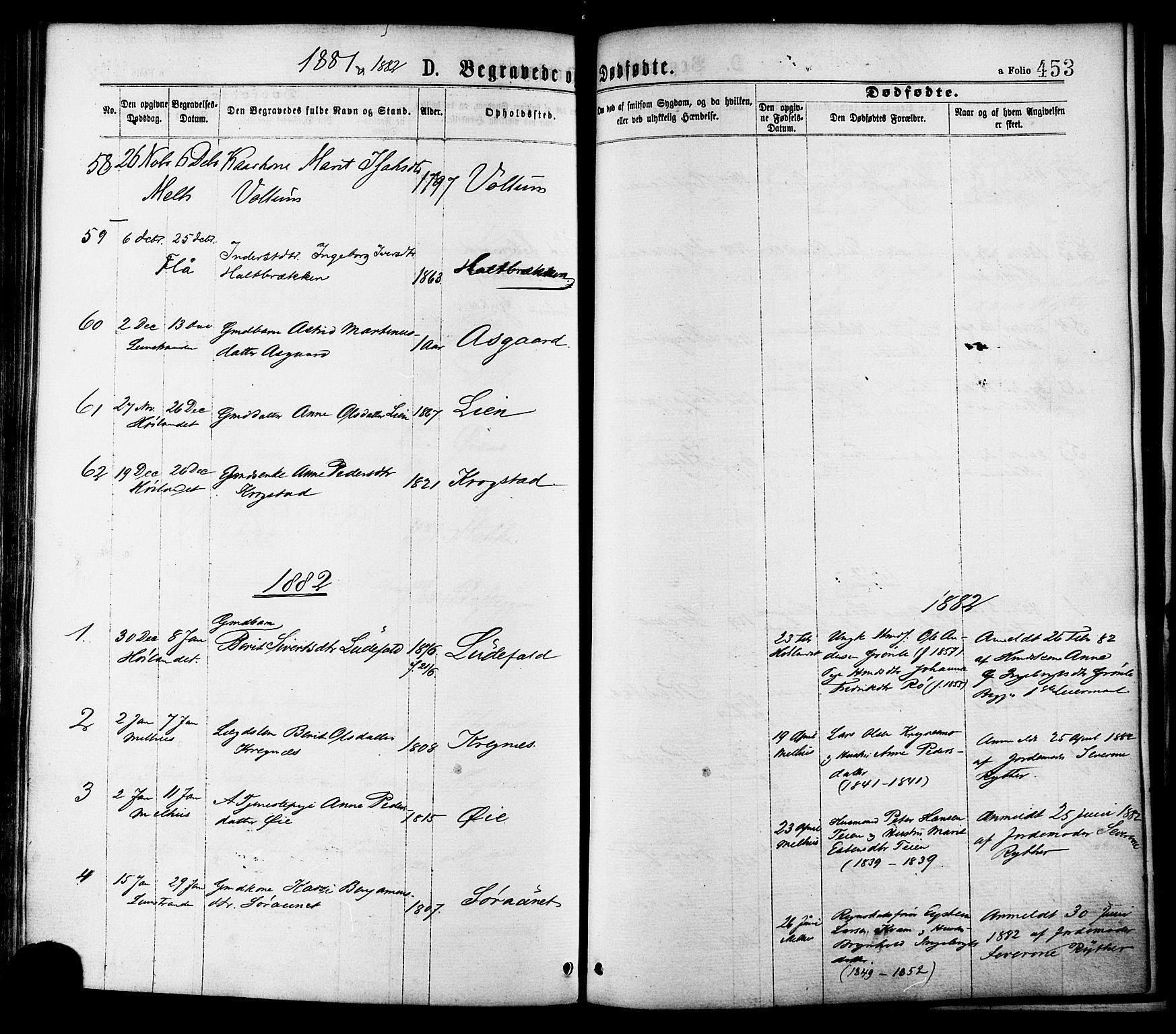 SAT, Ministerialprotokoller, klokkerbøker og fødselsregistre - Sør-Trøndelag, 691/L1079: Ministerialbok nr. 691A11, 1873-1886, s. 453
