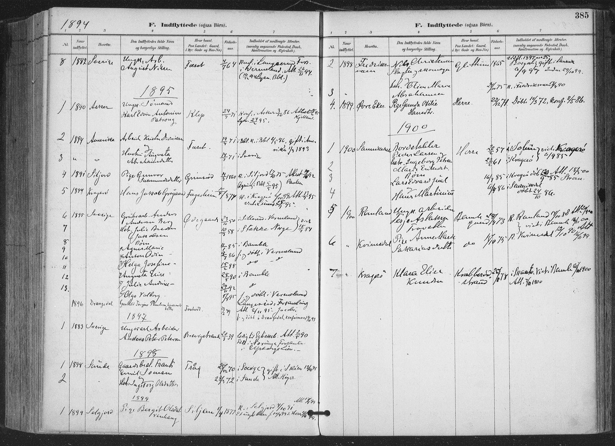 SAKO, Bamble kirkebøker, F/Fa/L0008: Ministerialbok nr. I 8, 1888-1900, s. 385