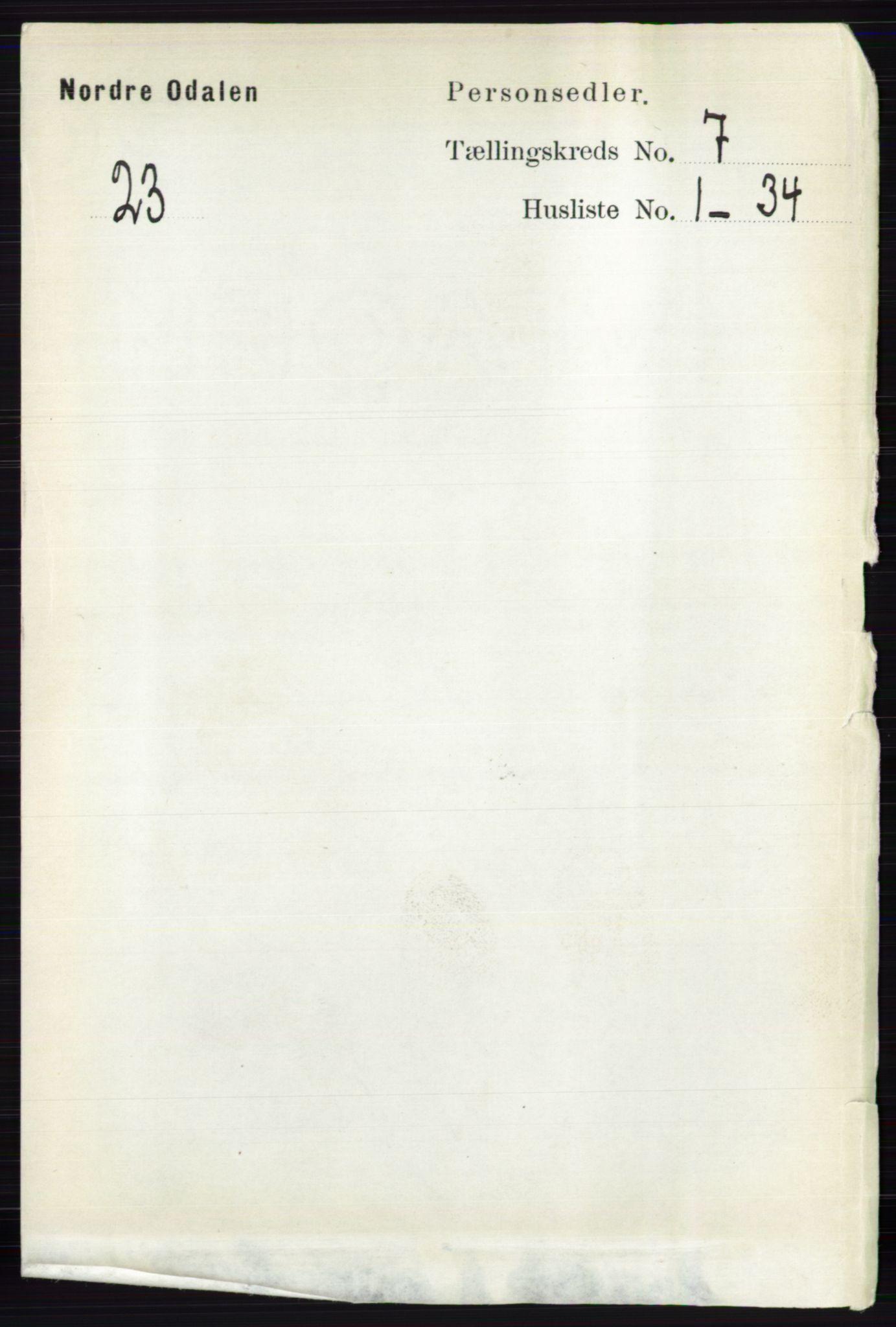 RA, Folketelling 1891 for 0418 Nord-Odal herred, 1891, s. 2835