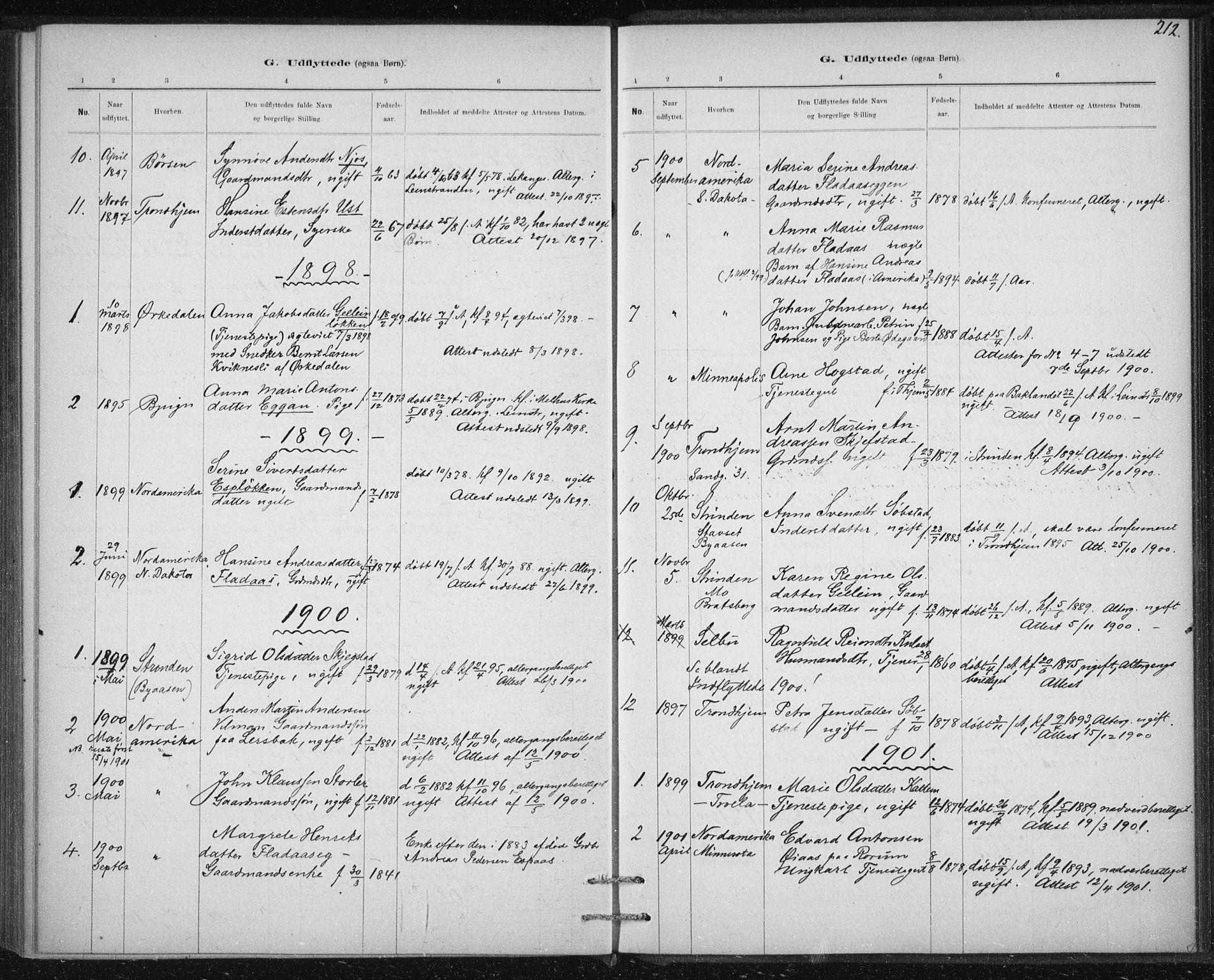 SAT, Ministerialprotokoller, klokkerbøker og fødselsregistre - Sør-Trøndelag, 613/L0392: Ministerialbok nr. 613A01, 1887-1906, s. 212