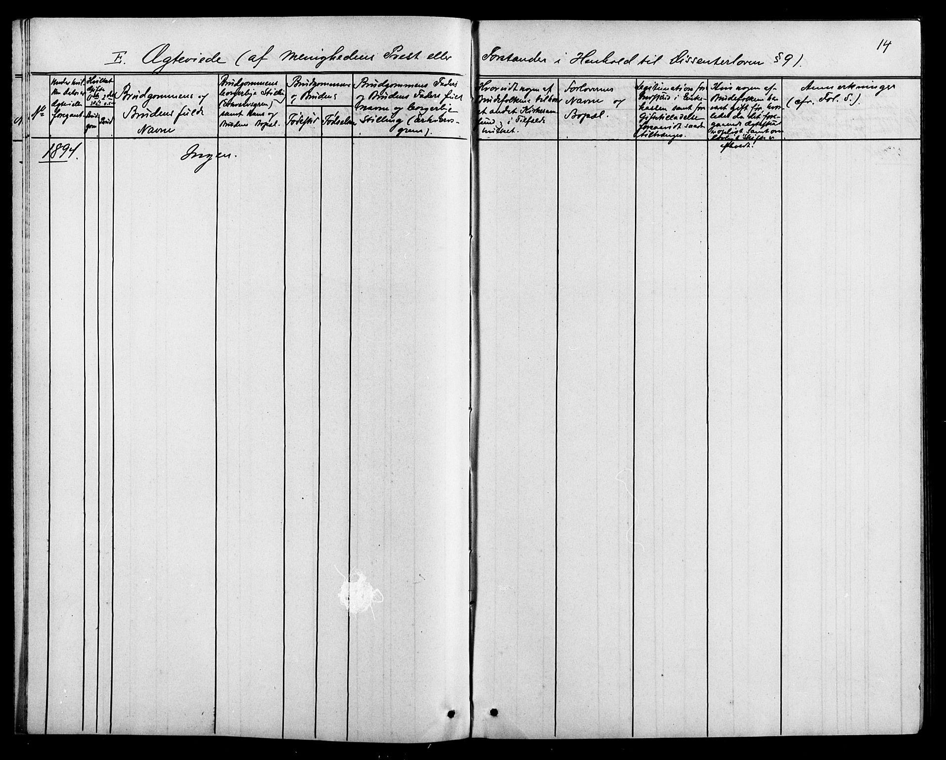 SAK, Baptistmenigheten i Tvedestrand, F/Fa/L0002: Dissenterprotokoll nr. F 1, 1892-1895, s. 14