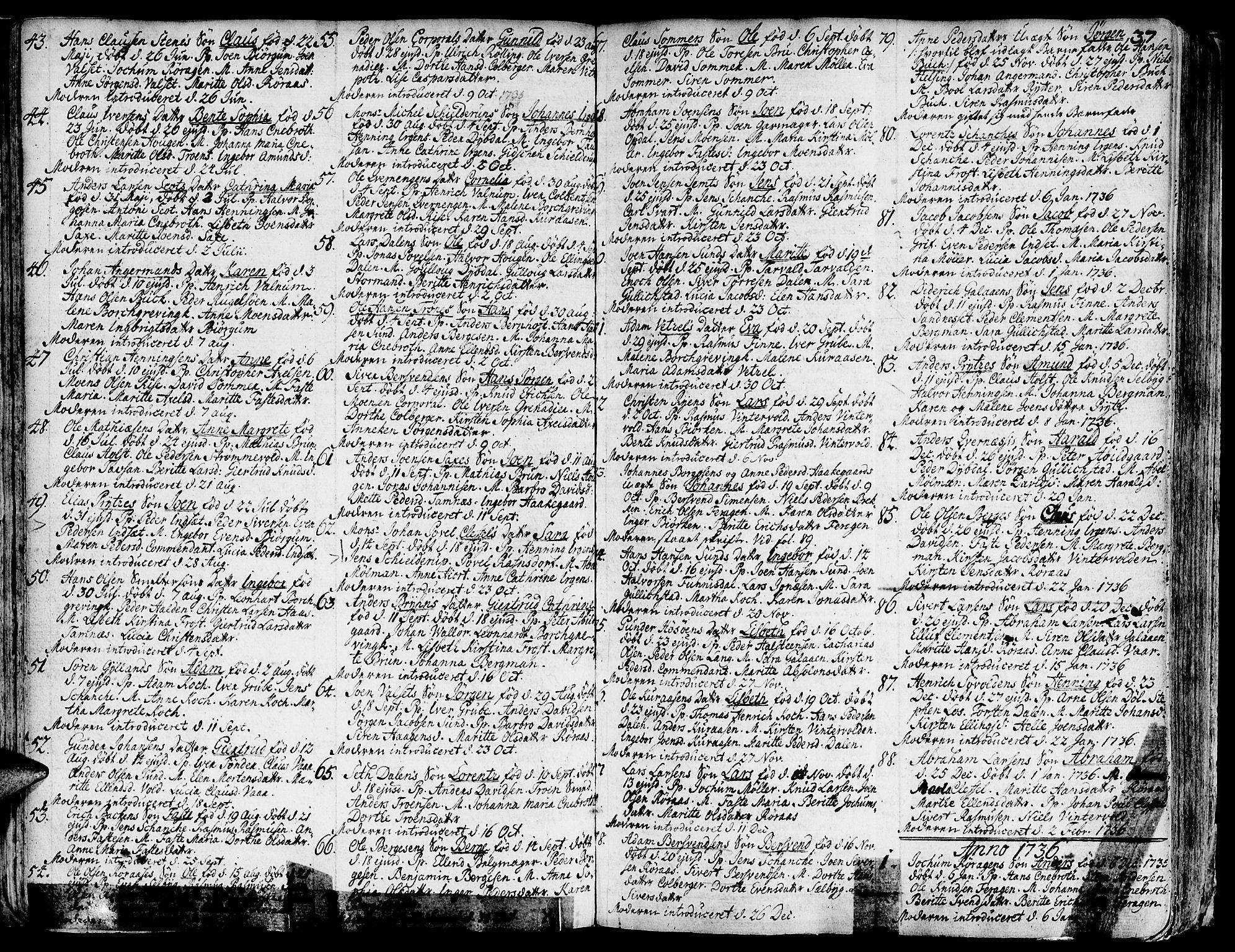 SAT, Ministerialprotokoller, klokkerbøker og fødselsregistre - Sør-Trøndelag, 681/L0925: Ministerialbok nr. 681A03, 1727-1766, s. 37