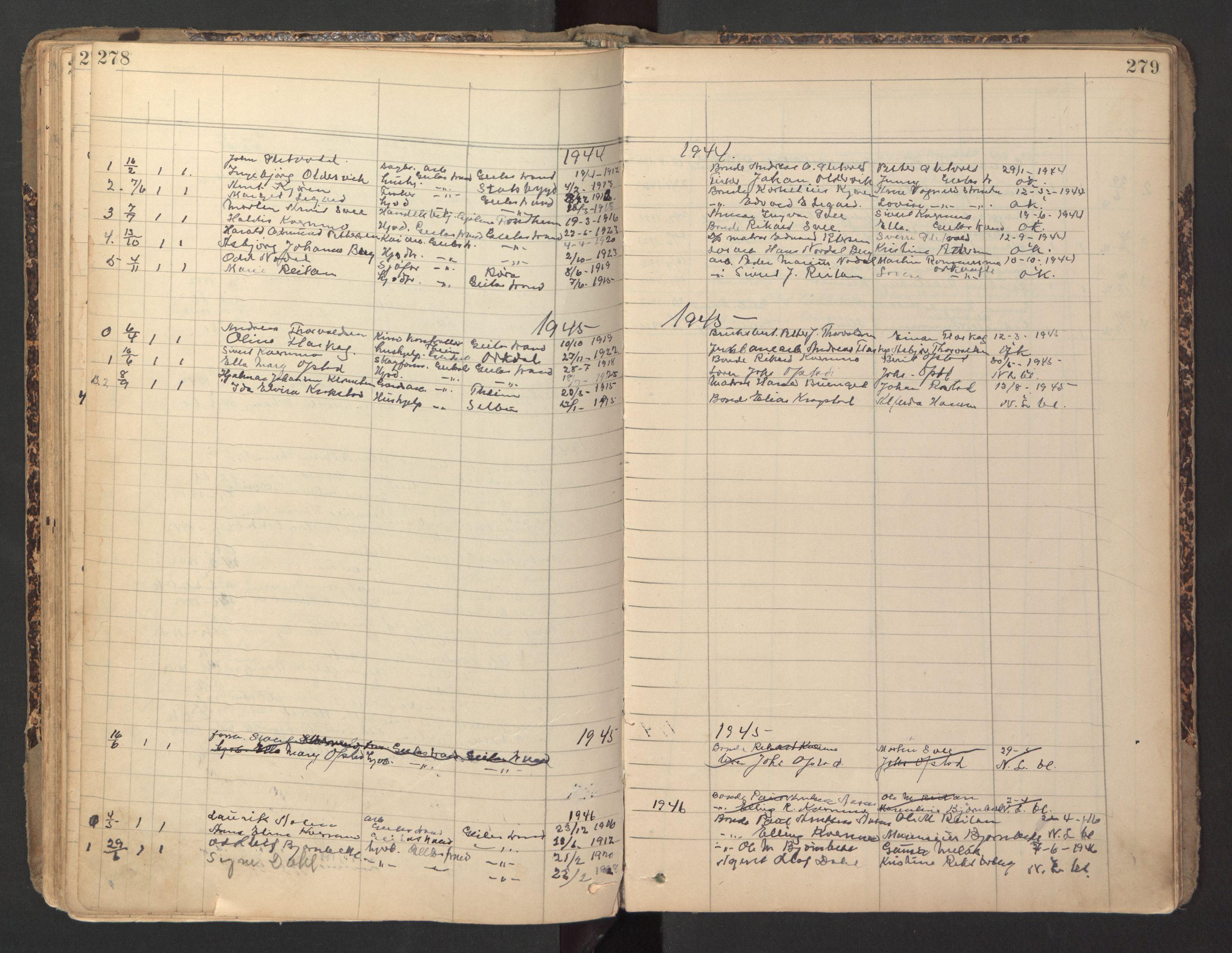 SAT, Ministerialprotokoller, klokkerbøker og fødselsregistre - Sør-Trøndelag, 670/L0837: Klokkerbok nr. 670C01, 1905-1946, s. 278-279