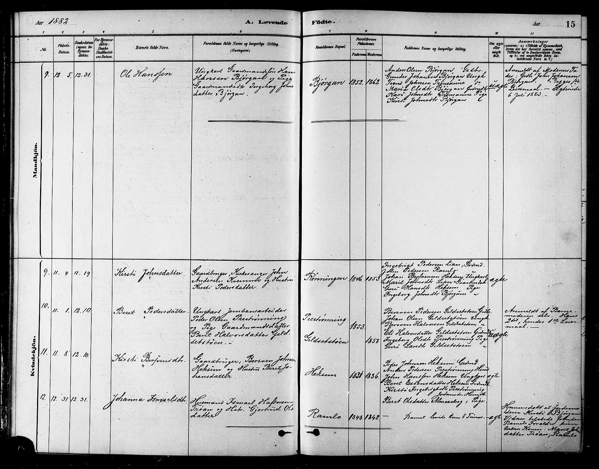 SAT, Ministerialprotokoller, klokkerbøker og fødselsregistre - Sør-Trøndelag, 685/L0972: Ministerialbok nr. 685A09, 1879-1890, s. 15