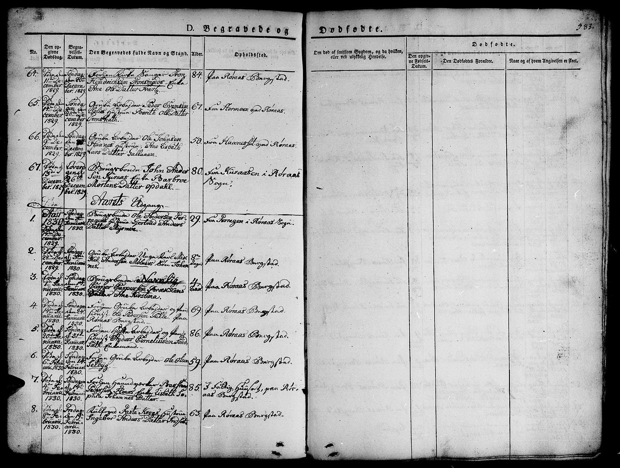 SAT, Ministerialprotokoller, klokkerbøker og fødselsregistre - Sør-Trøndelag, 681/L0939: Klokkerbok nr. 681C03, 1829-1855, s. 583